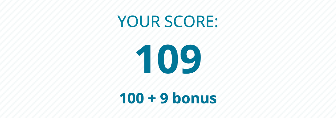 "Screenshot of the author's assignment score, reading ""YOUR SCORE: 109. 100 + 9 bonus."" Photo courtesy of the author."
