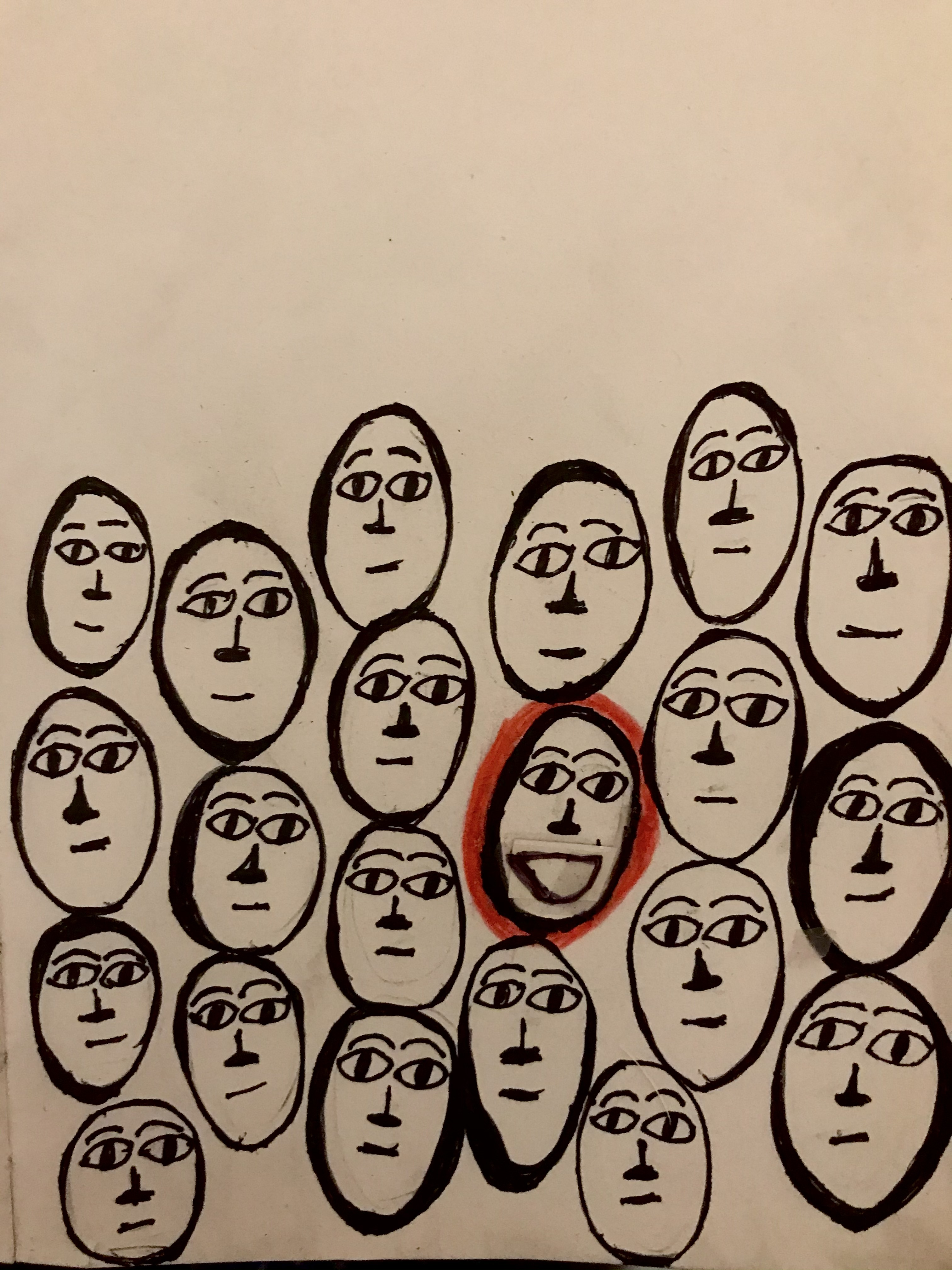 Drawings of faces in black outlines, with one outlined in red in the middle. Art by the author.