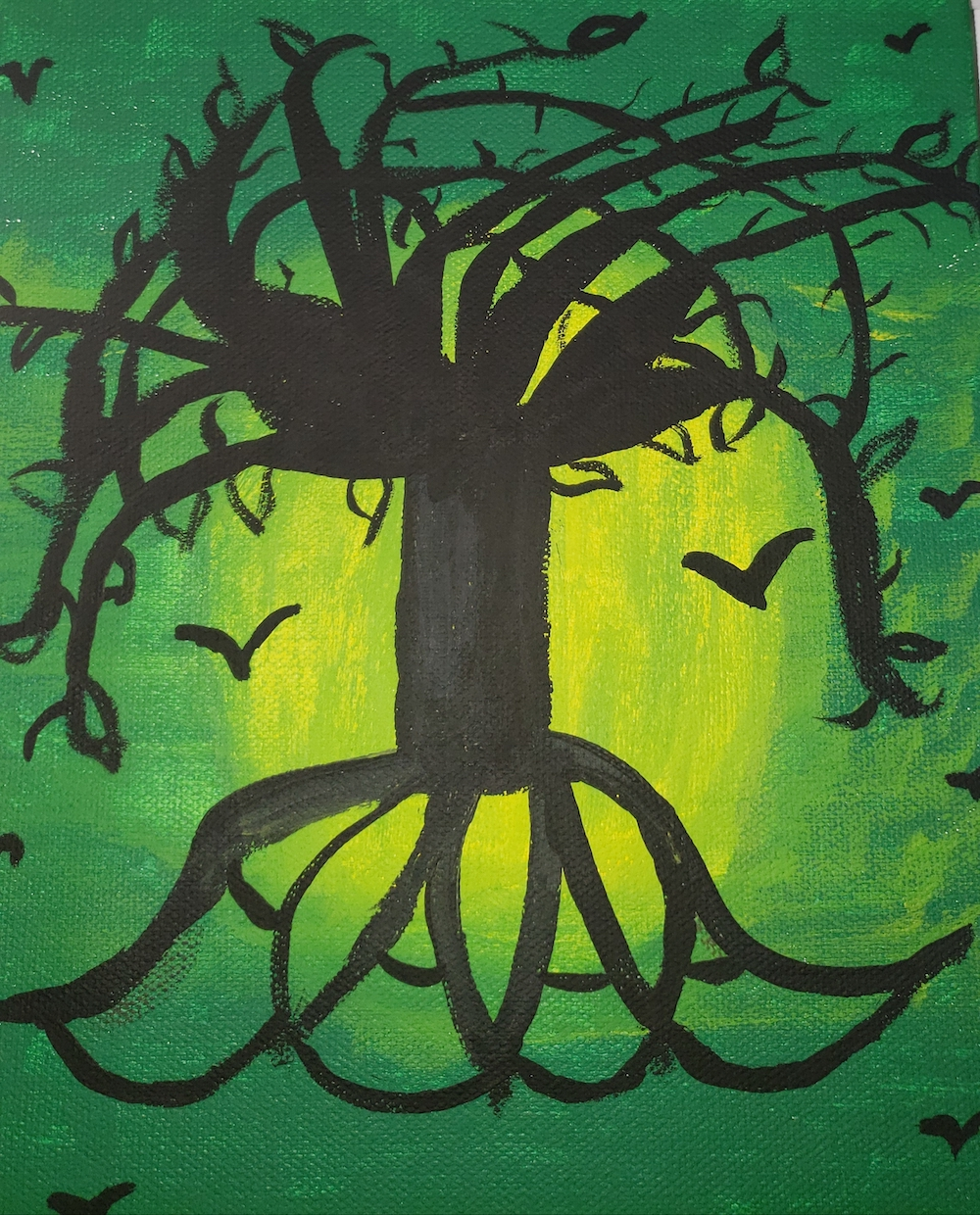 A painting of a silhouette of a free with branches, roots, and birds flying near it, against dark green and yellow-green background. Art painted by the author.