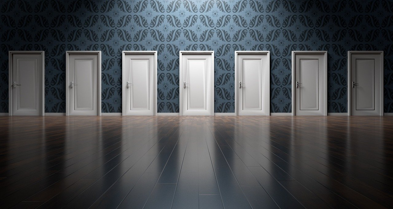 Seven white doors lined against a wall. Photo courtesy of qimono on Pixabay.