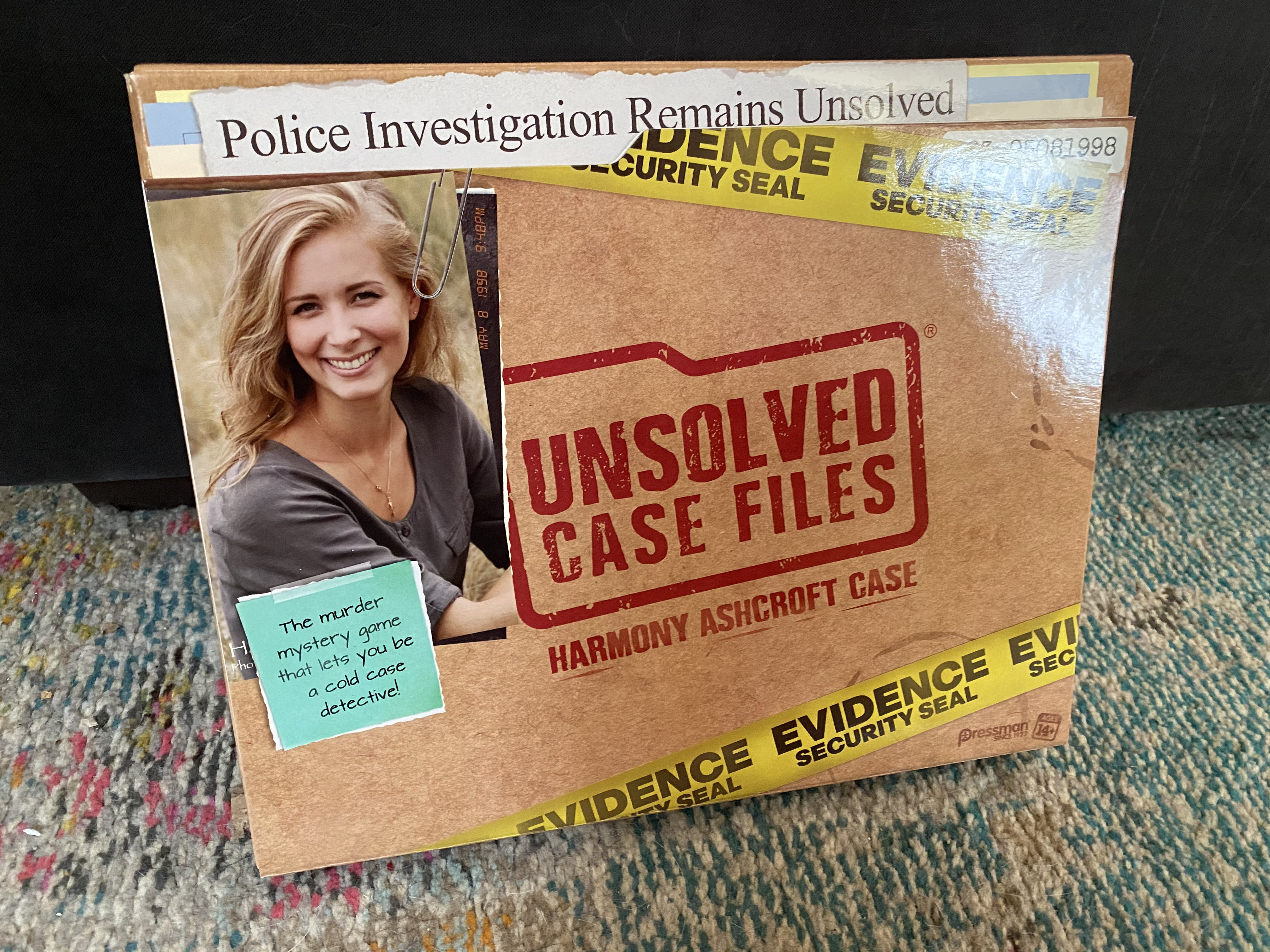 The box for the Harmony Ashcroft case in the Unsolved Case Files series.