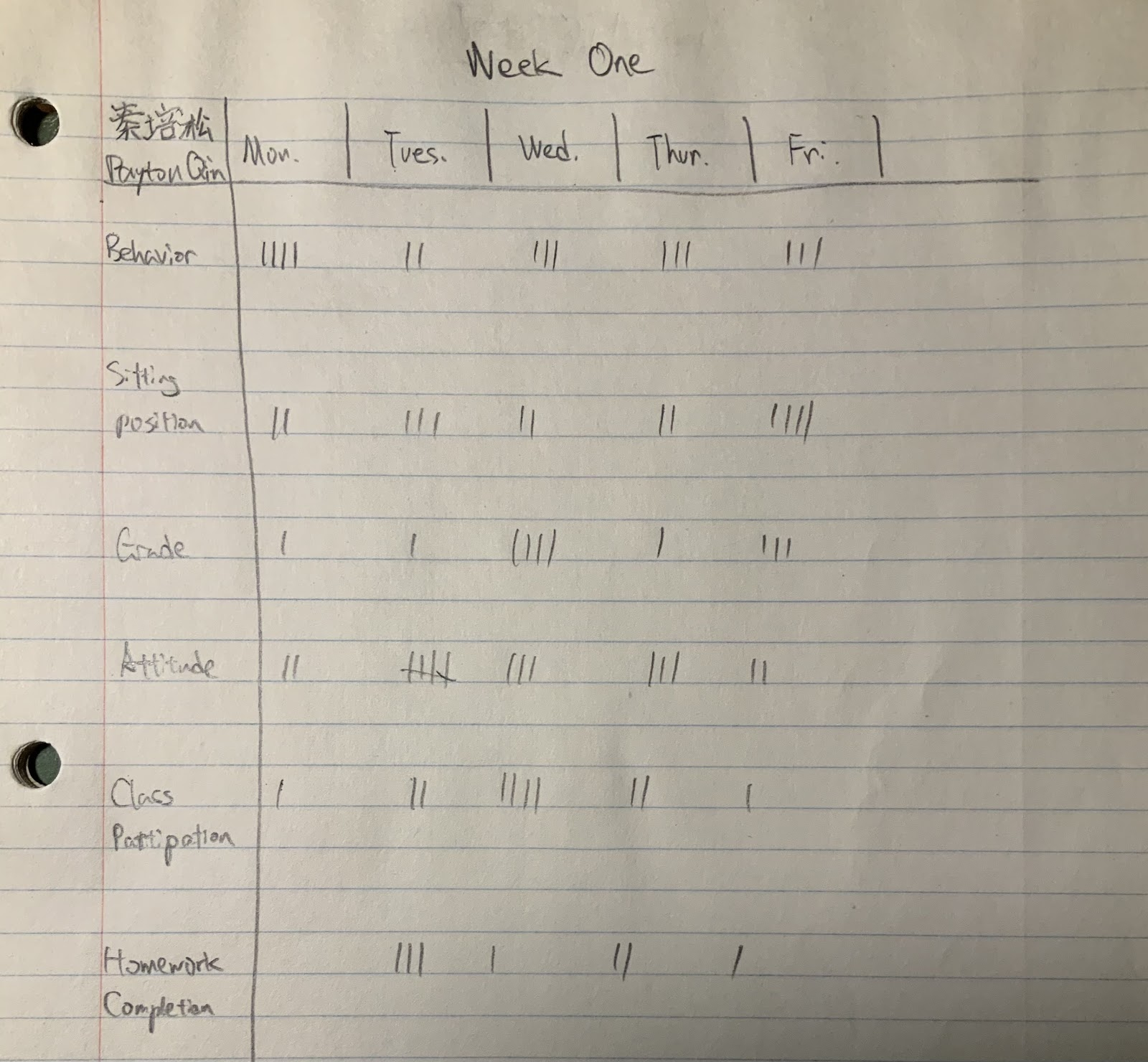 An example of how a student would track the behavior and academic performance of other students. Photo courtesy of Payton Qin.
