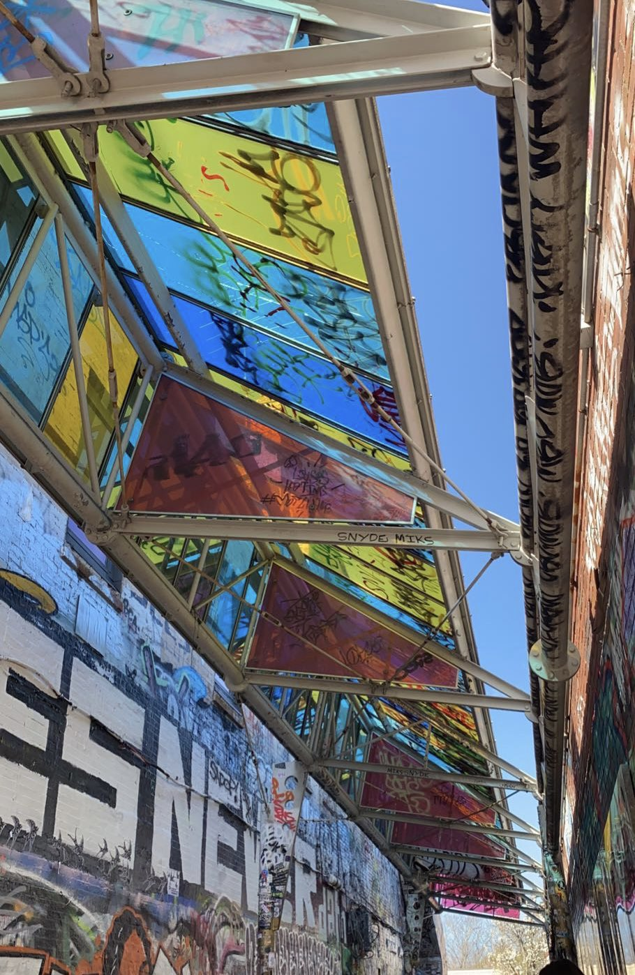 Street art on a stained-glass ceiling