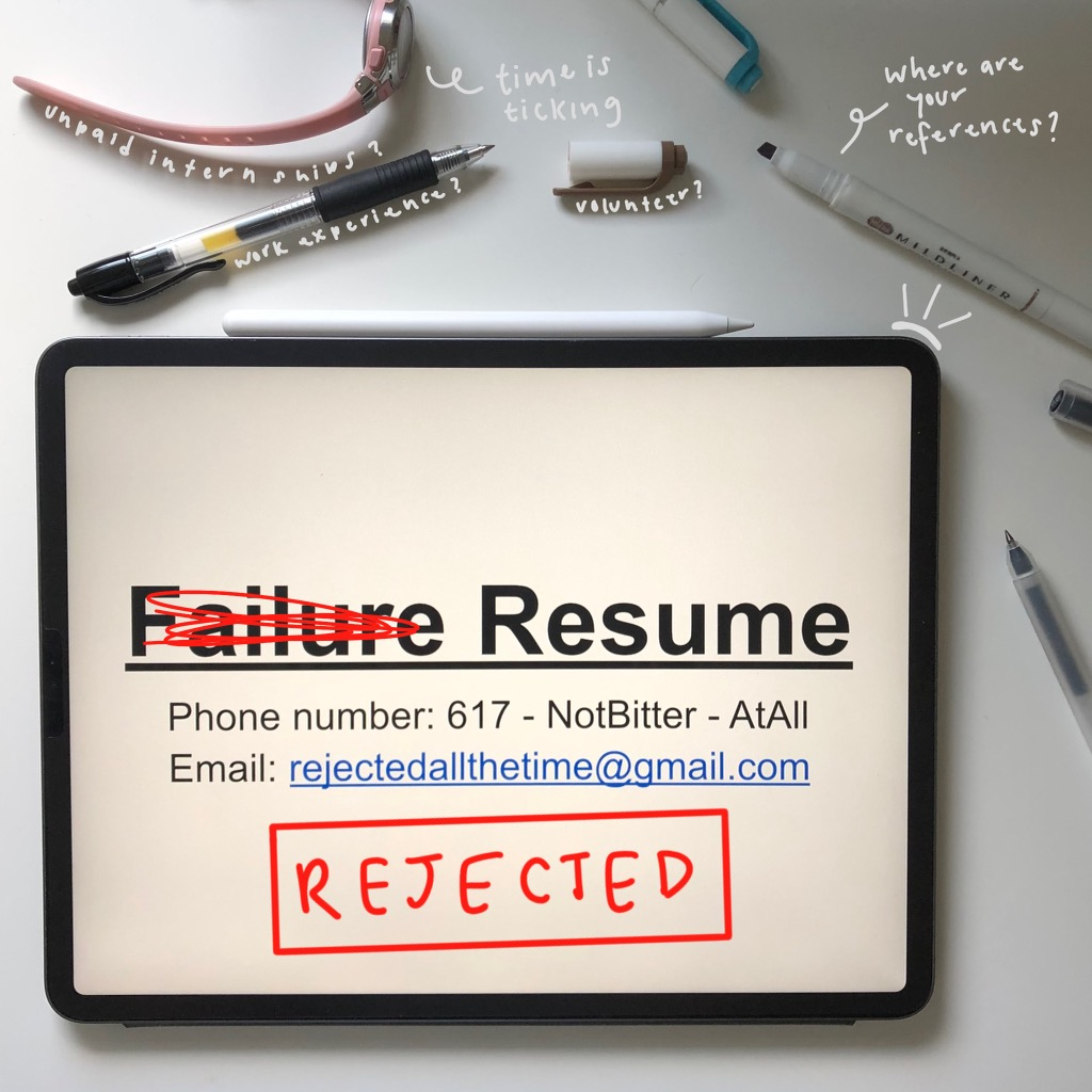 """An edited image of the author's """"failure resume"""" with school supplies on her desk. Edit created by the author."""