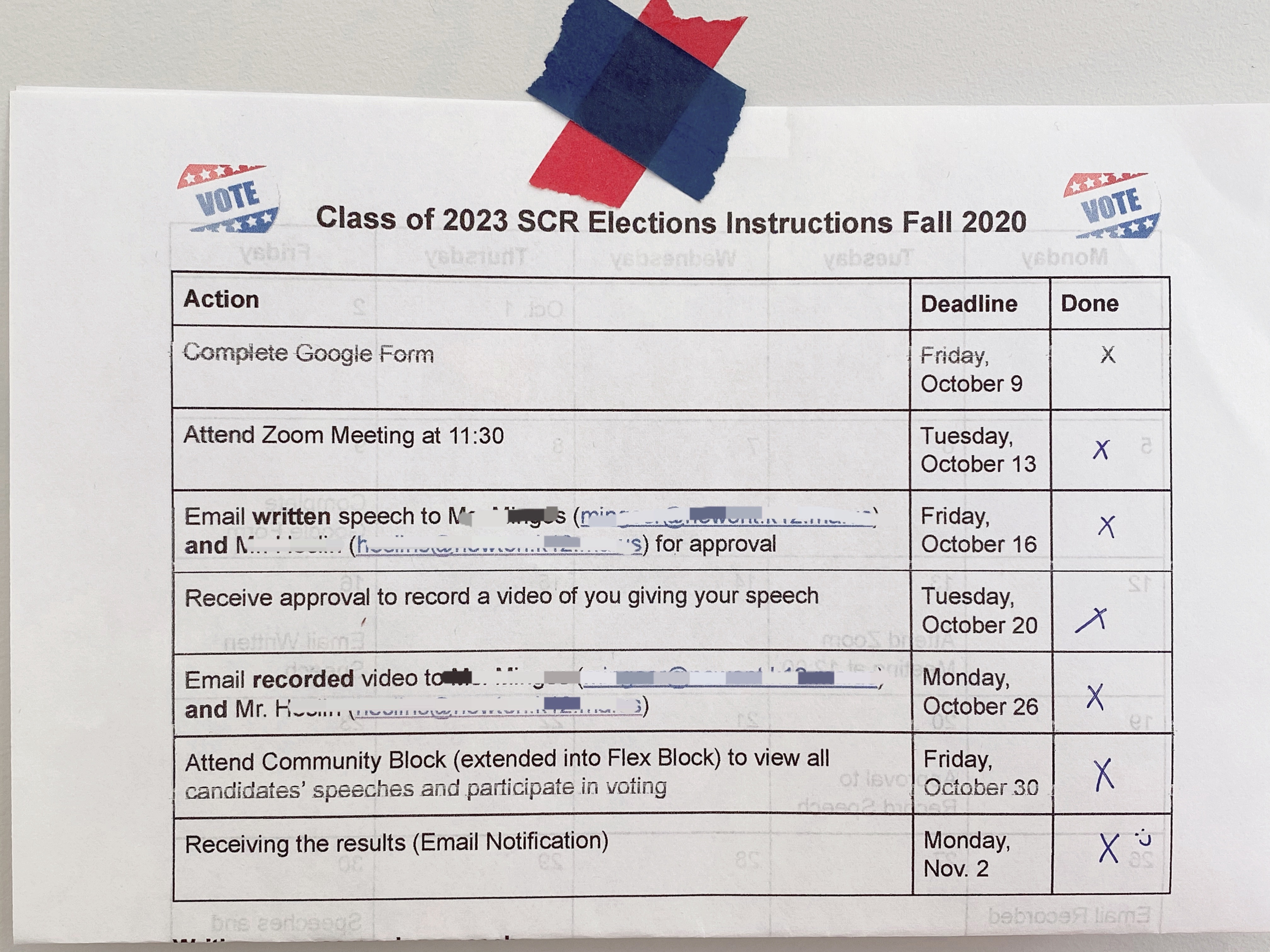Class of 2023 SCR Elections instructions to-do list for candidates running in fall 2020. Photo taken by the author.