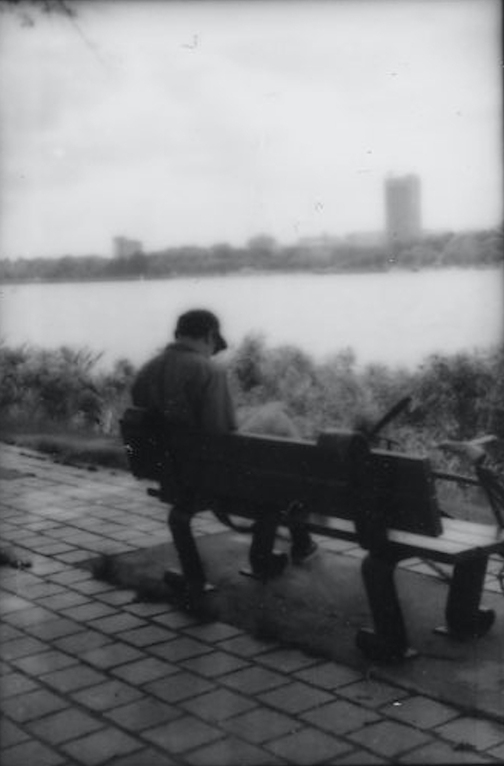 Black and white photo of a person sitting on a bench overlooking the Charles River. Photo taken by the author.