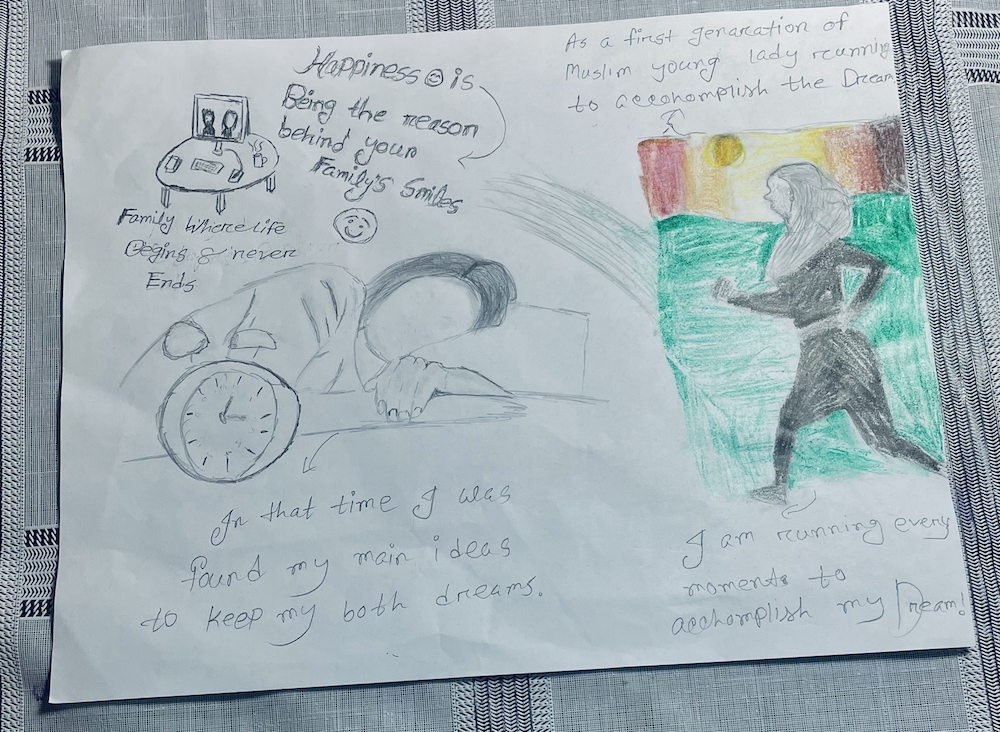 An inspirational drawing about the author's journey and personal growth, created by the author.