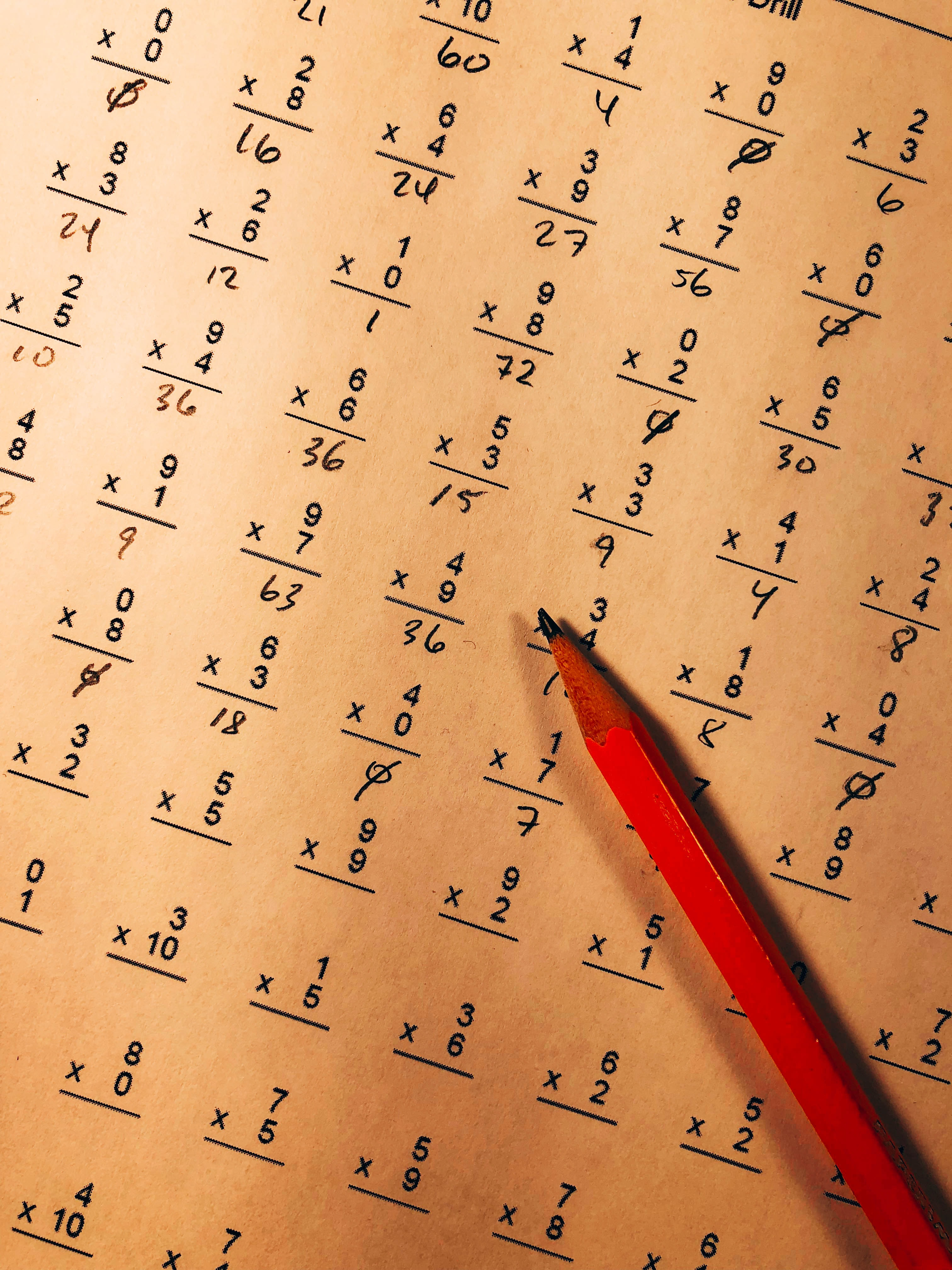Pencil resting on a multiplication test. Photo courtesy of Chris Liverani on Unsplash/.