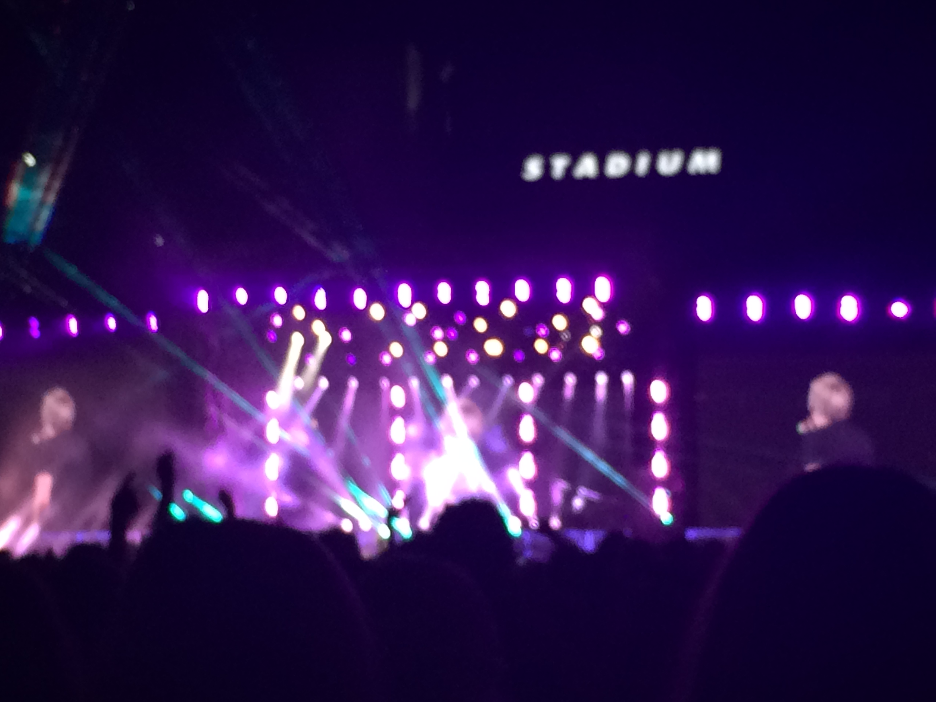 Photo at a One Direction concert from the crowd. Photo taken by the author.