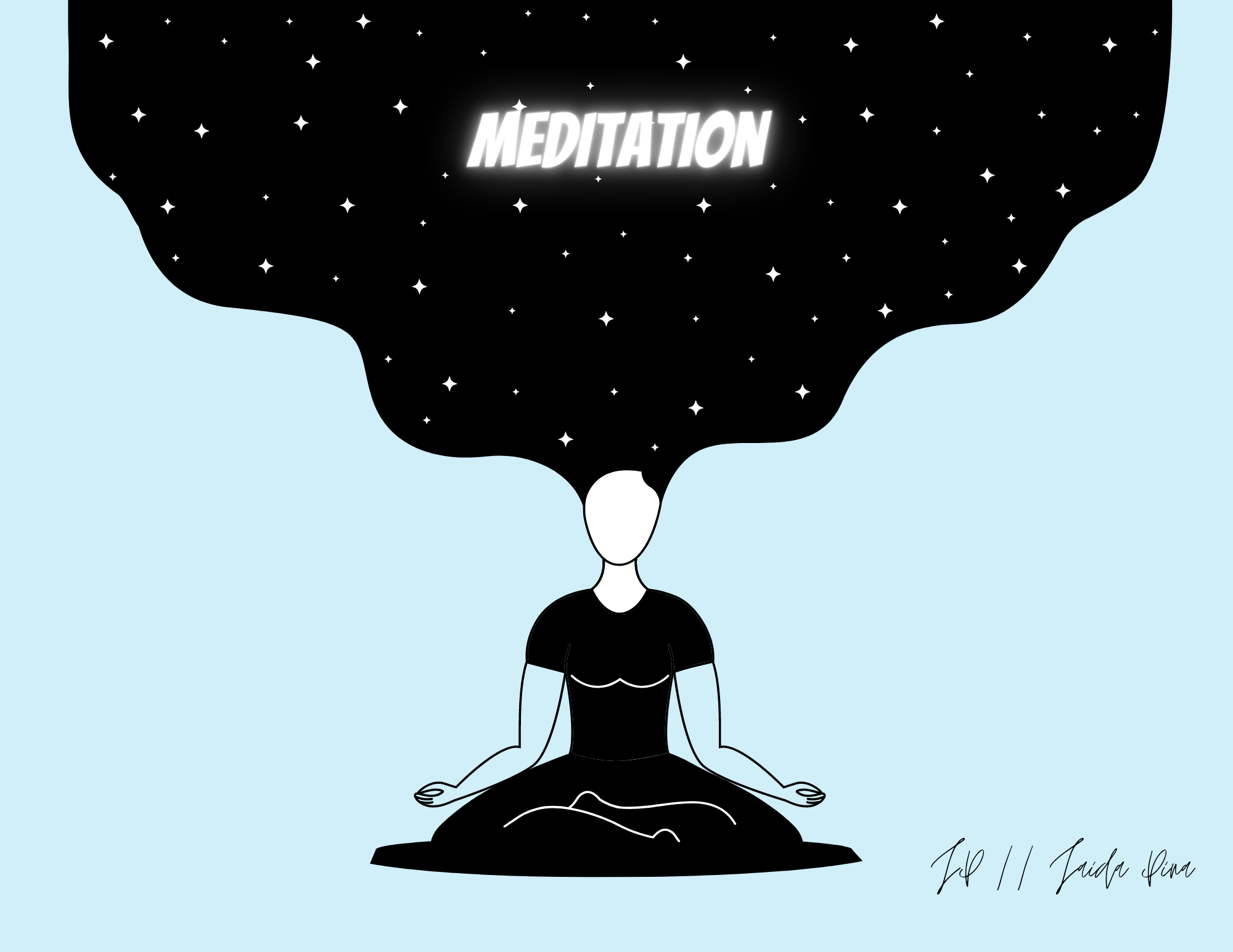 Drawing of a person's mind opening as they meditate. Art by the author.