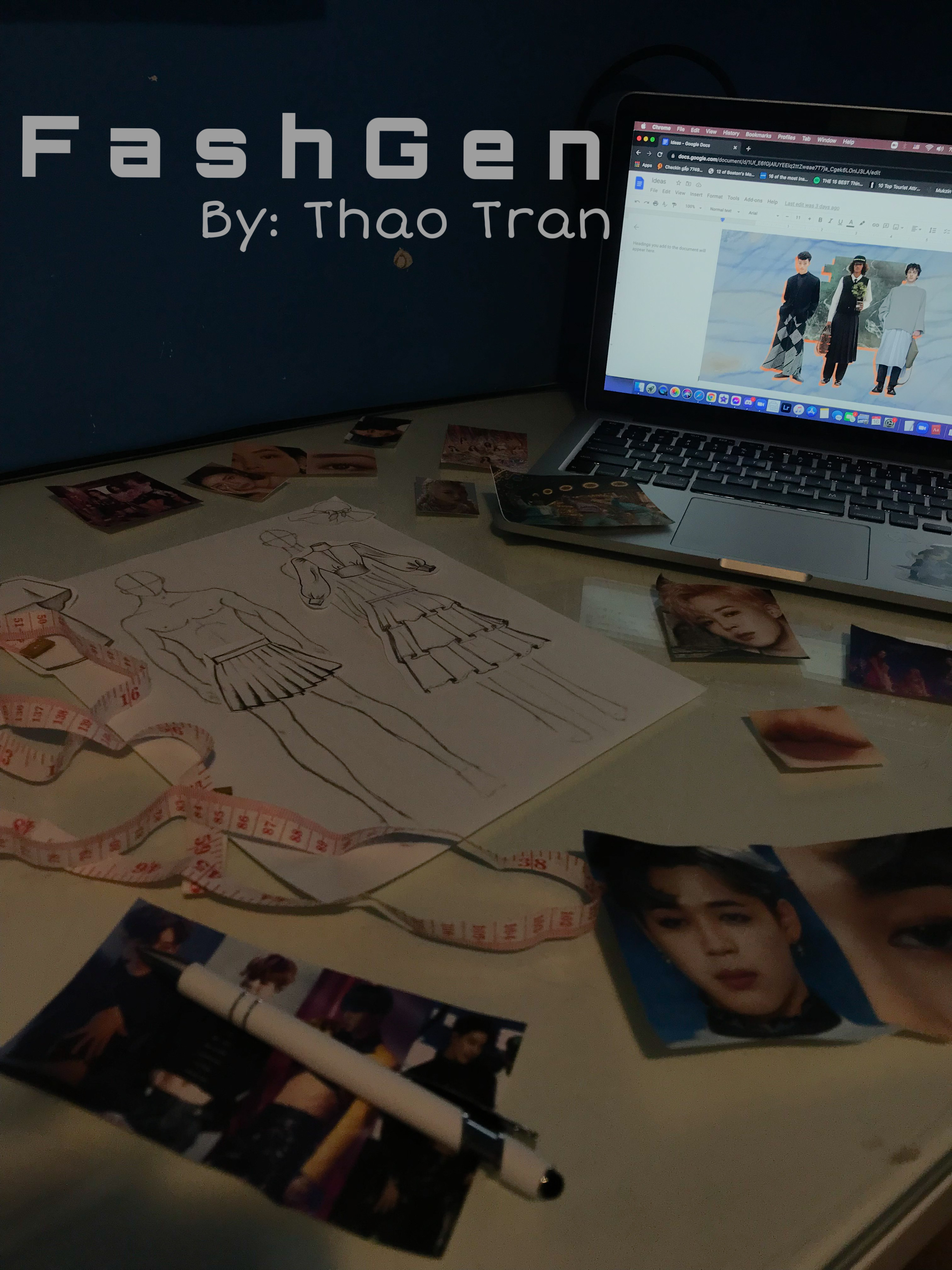 Fashion research in the form of photos and drawings spread out on a desk. Photo and edit by the author.