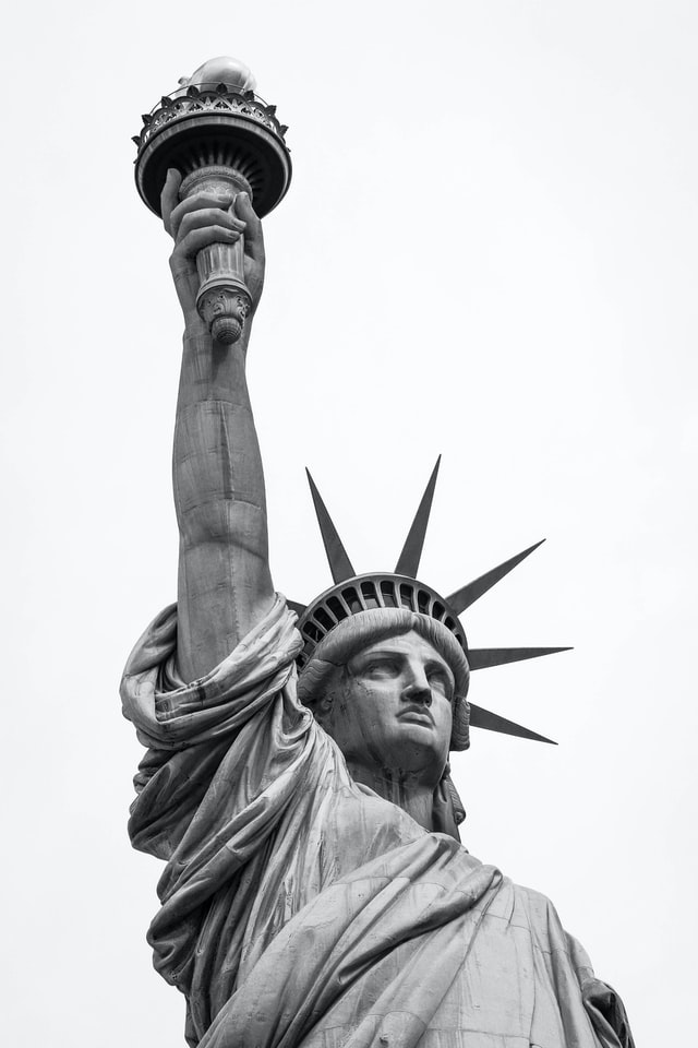 Black and white photo of the Statue of Liberty. Photo courtesy of Brandon Mowinkel.