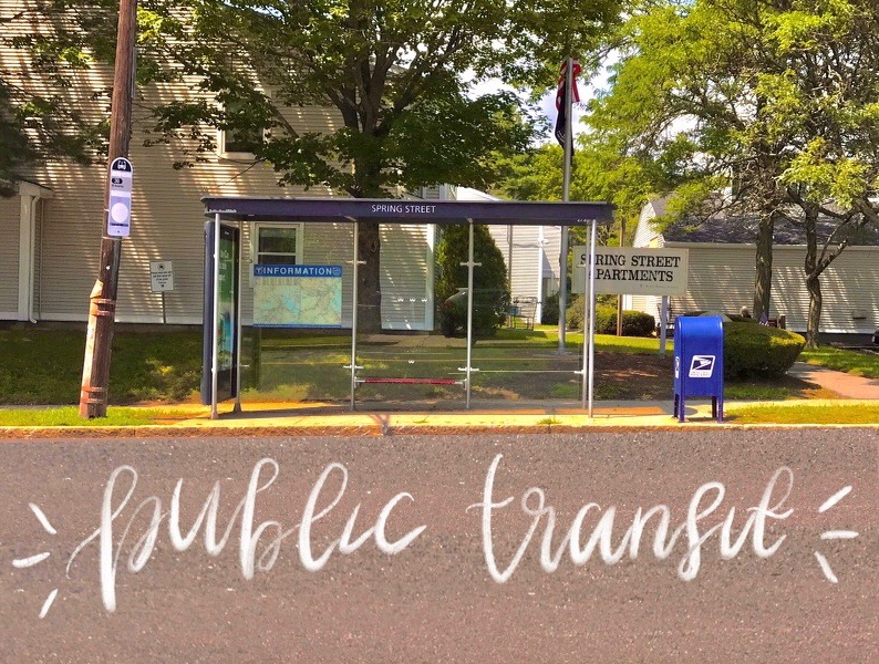 The Spring Street bus stop. Photo and edit by the author.
