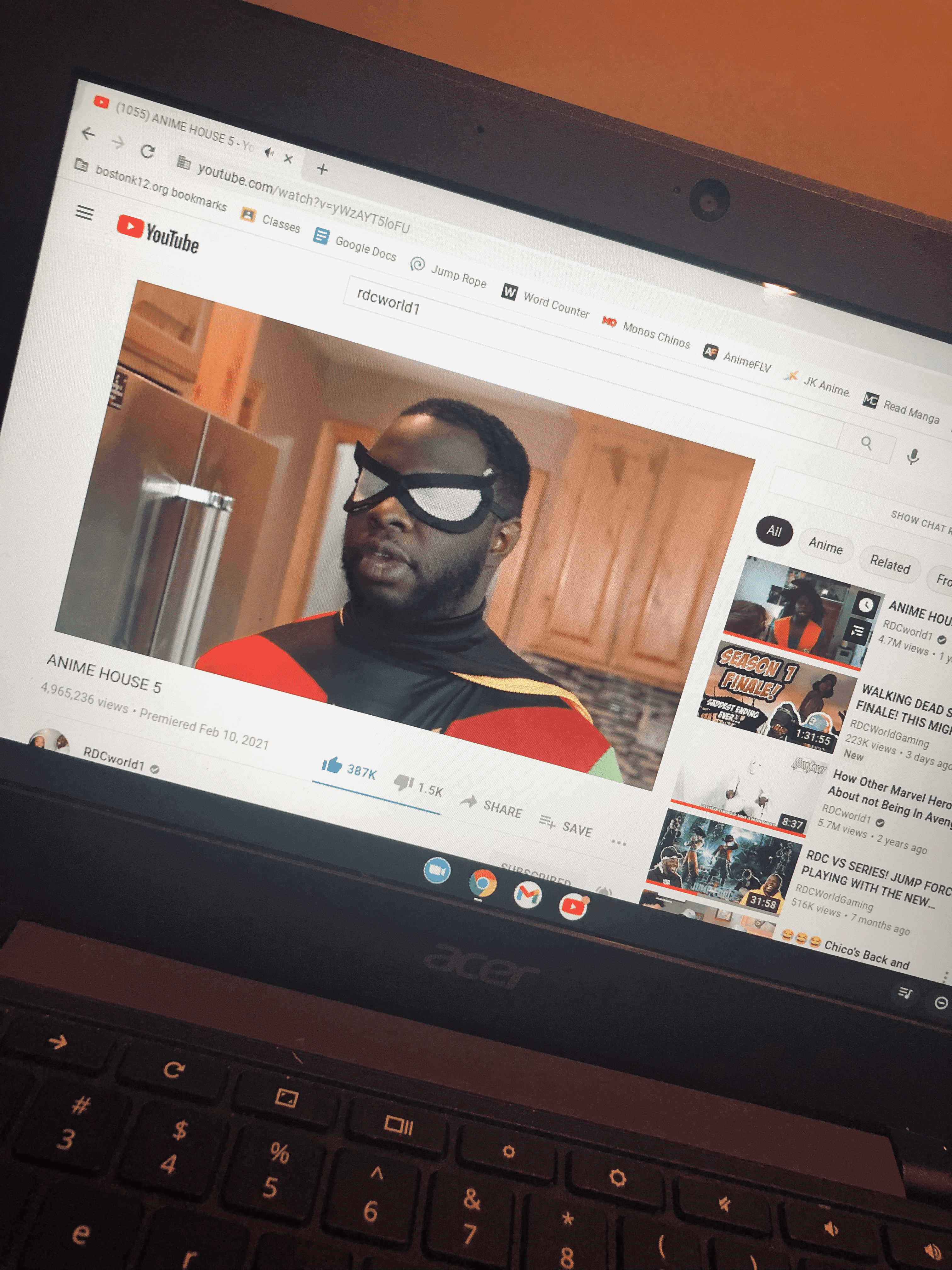 """Photo of a laptops web browser on YouTube watching a video created by RDCworld1 titled """"Anime House 5."""" Photo courtesy of the author."""