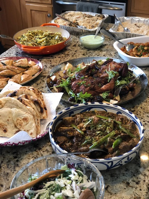 Photo of a spread of different types of foods prepared to end the daily Ramadan fast. Photo courtesy of the author.