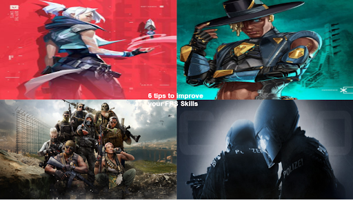 Collage of different first-person shooter games.