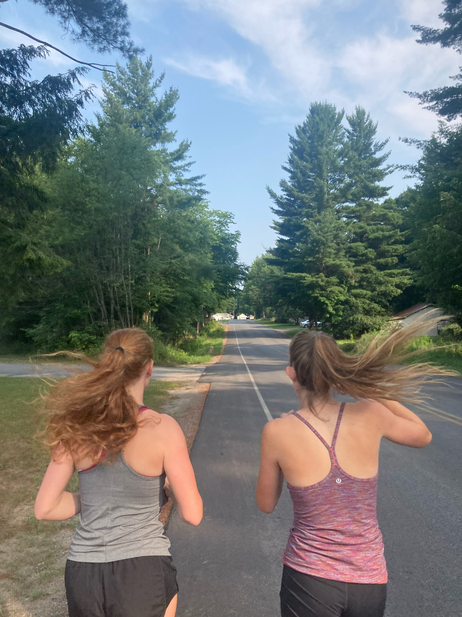 A photo of two girls running. Photo courtesy of the author.
