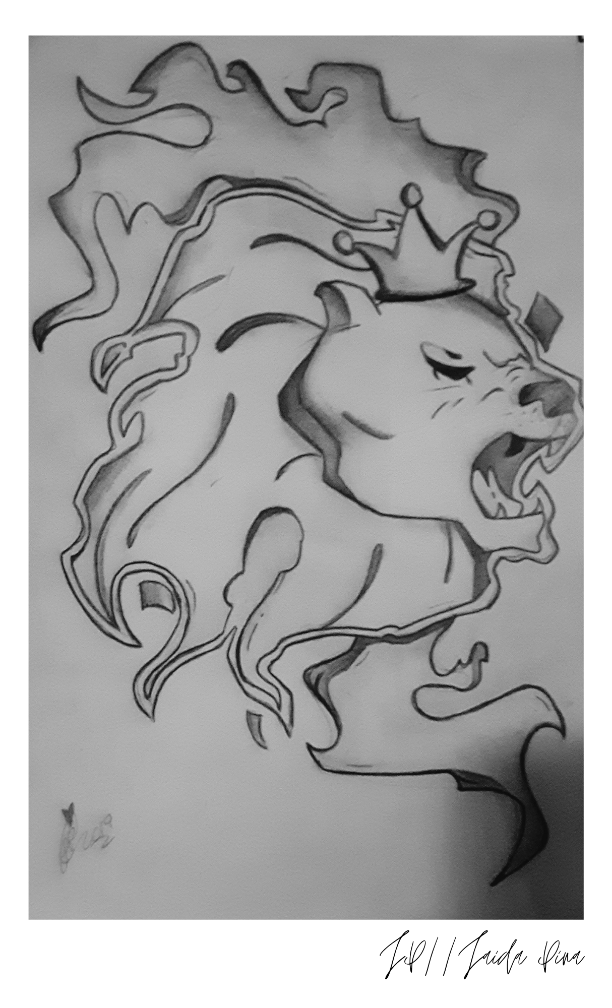 Digital drawing of a lion with a crown. Drawing and photo courtesy of the author.