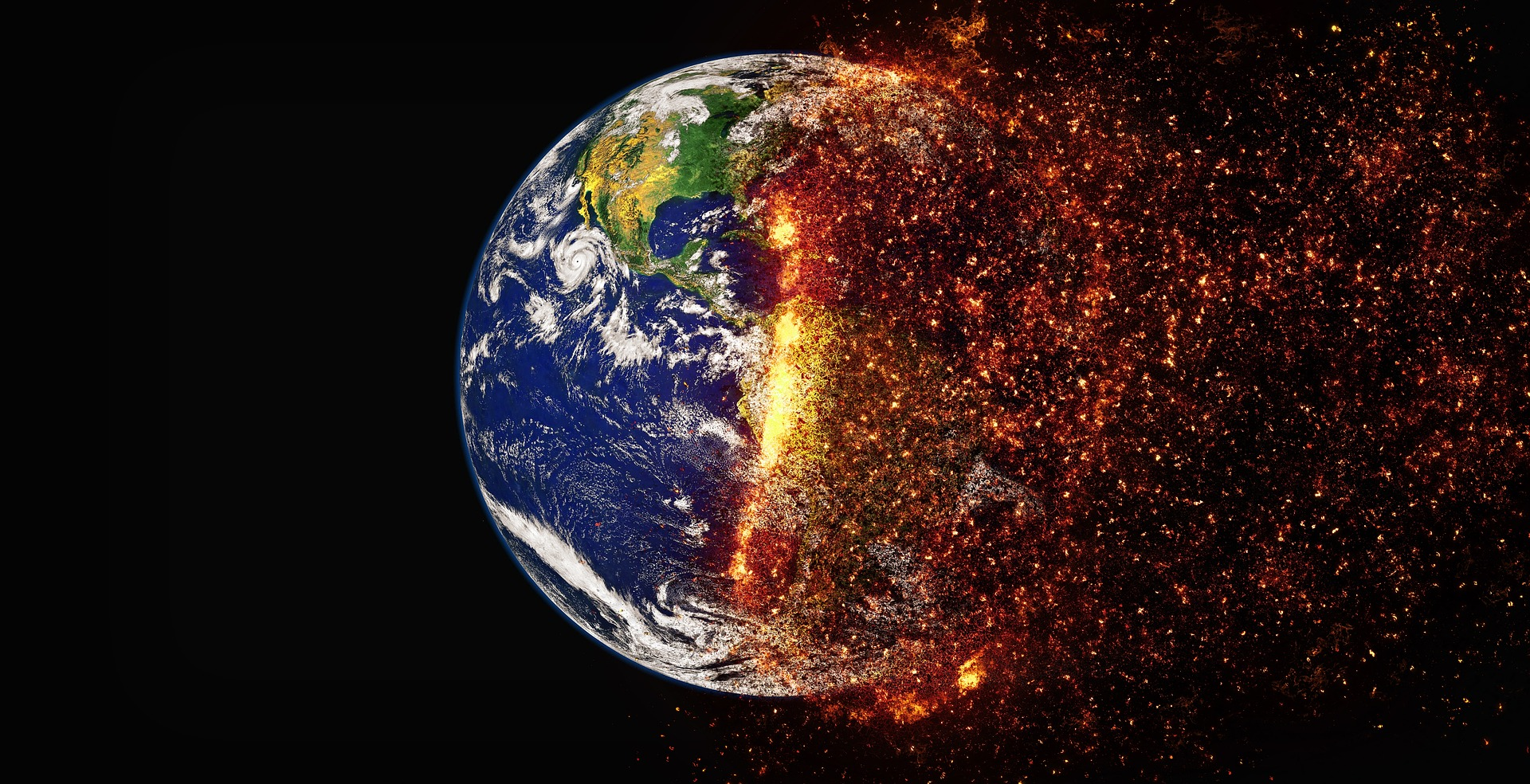 A photo of half the earth burning. Photo courtesy of The Digital Artist on Pixabay.