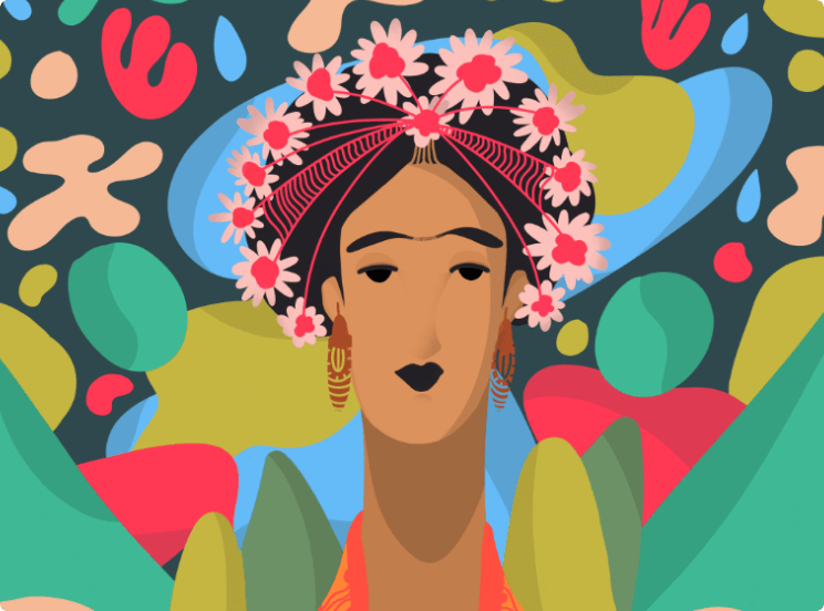 Illustration of Frida Kahlo by Keva Epale