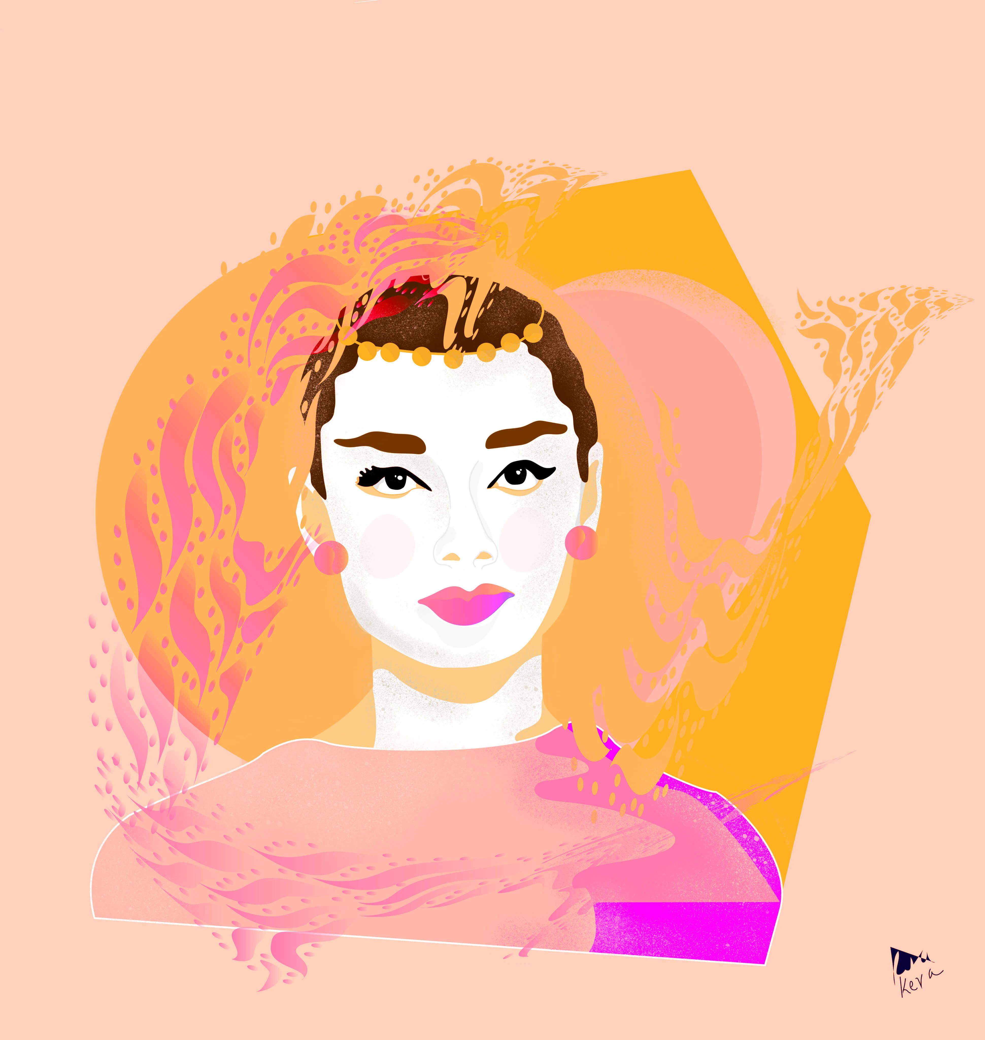 Audrey Hepburn in a colourful interpretation