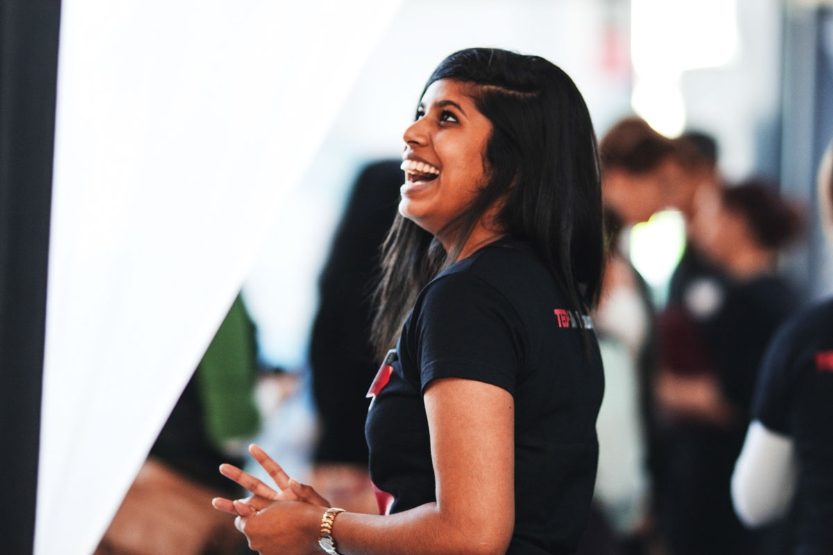 photo of woman volunteering at tedx event