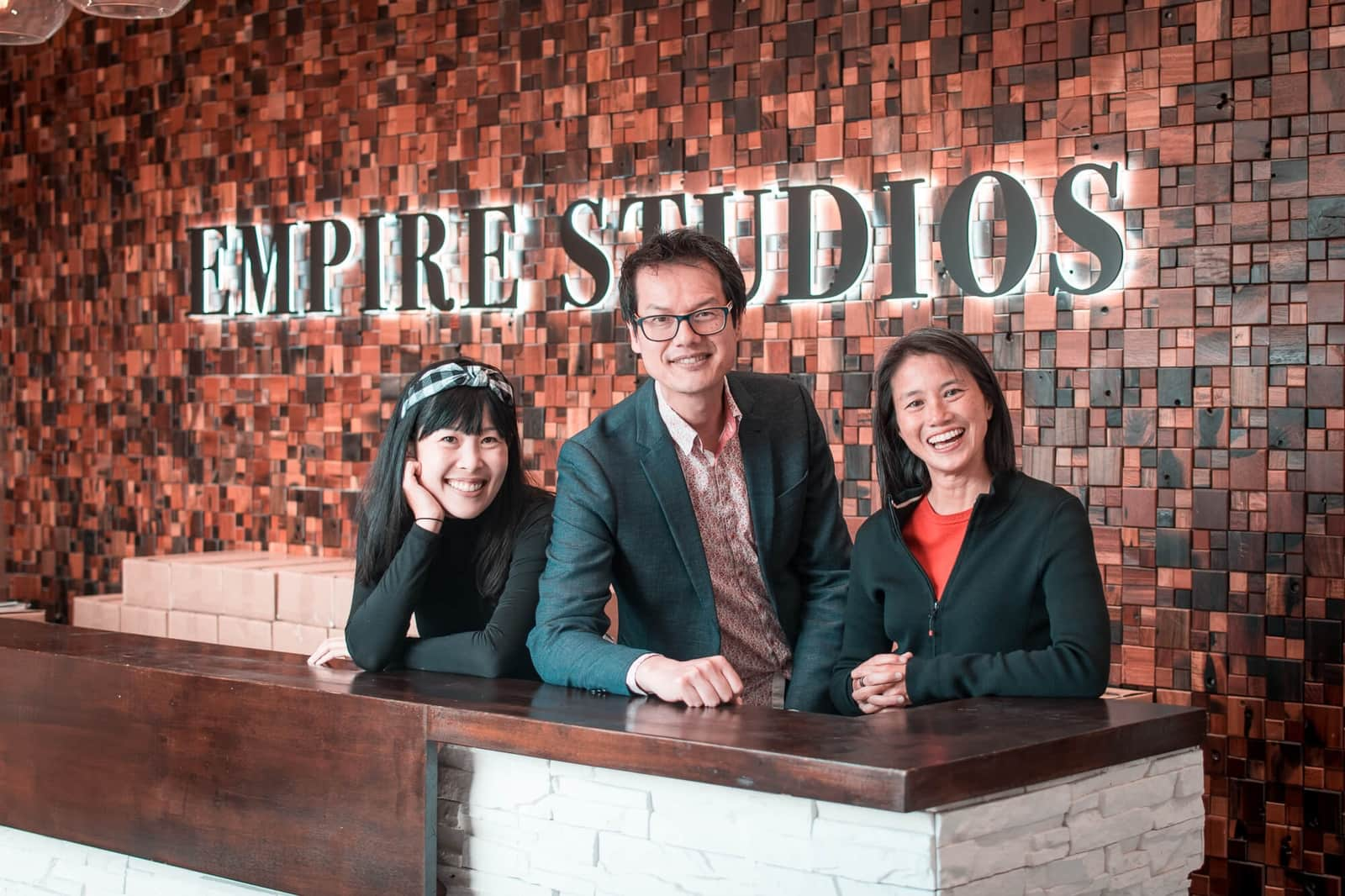 Lisa Leong, Jon Yeo and Joanne Woo at Empire Studios Reception.