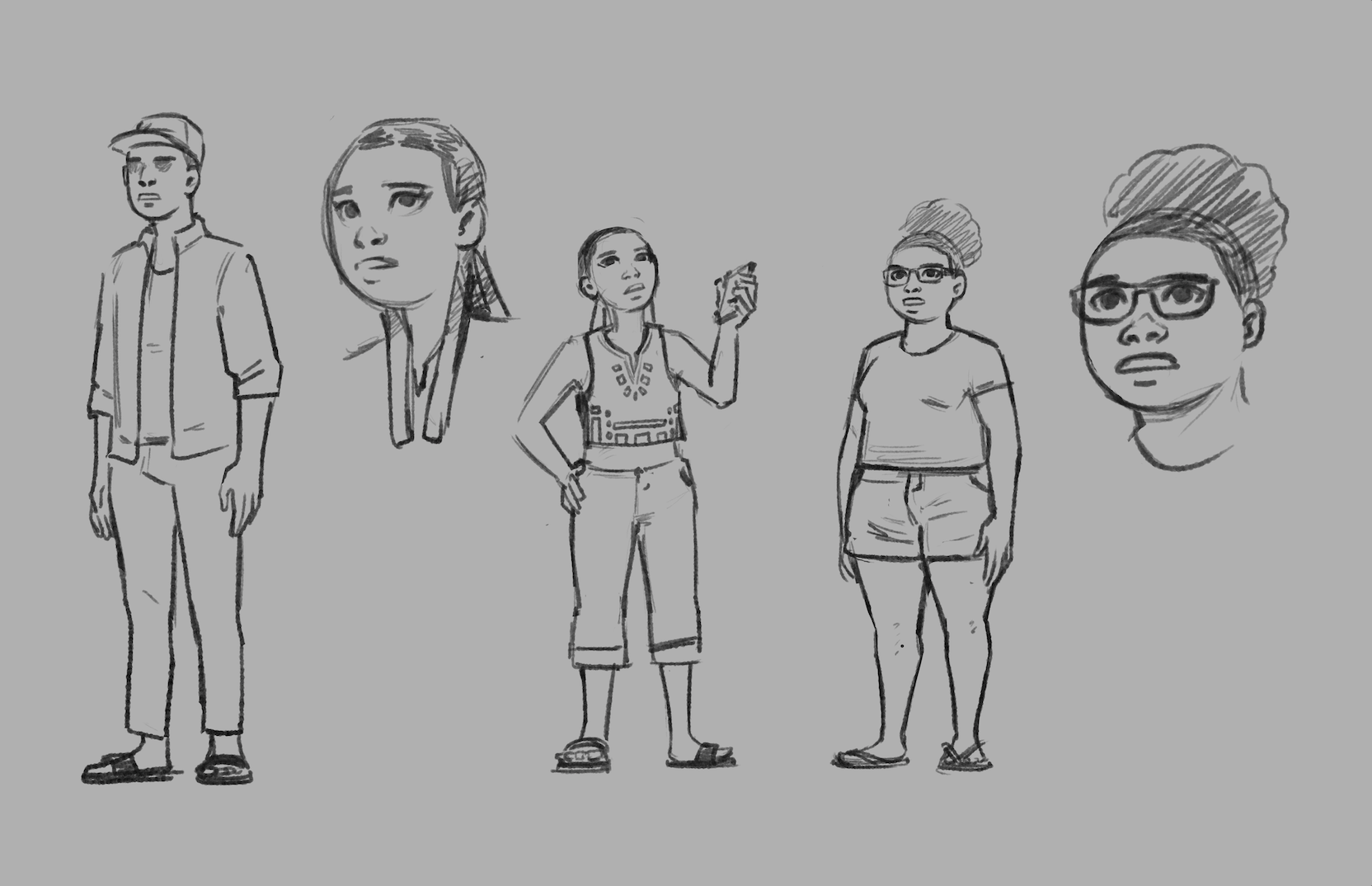 Character sketches for my short film, Lightcatchers.