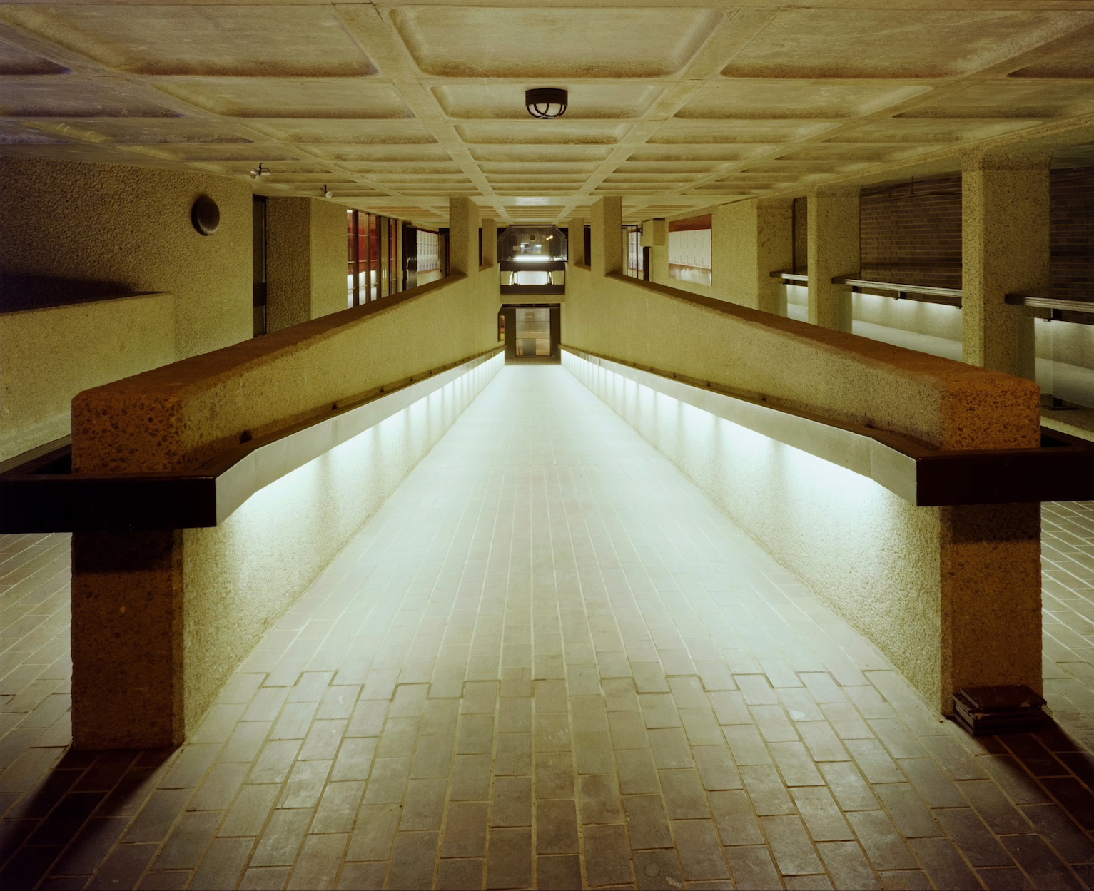 A view of a pedestrian passage to the Barbican Centre, taken on the day the centre was opened in 1982. © Historic England Archive. John Laing Photographic Collection.