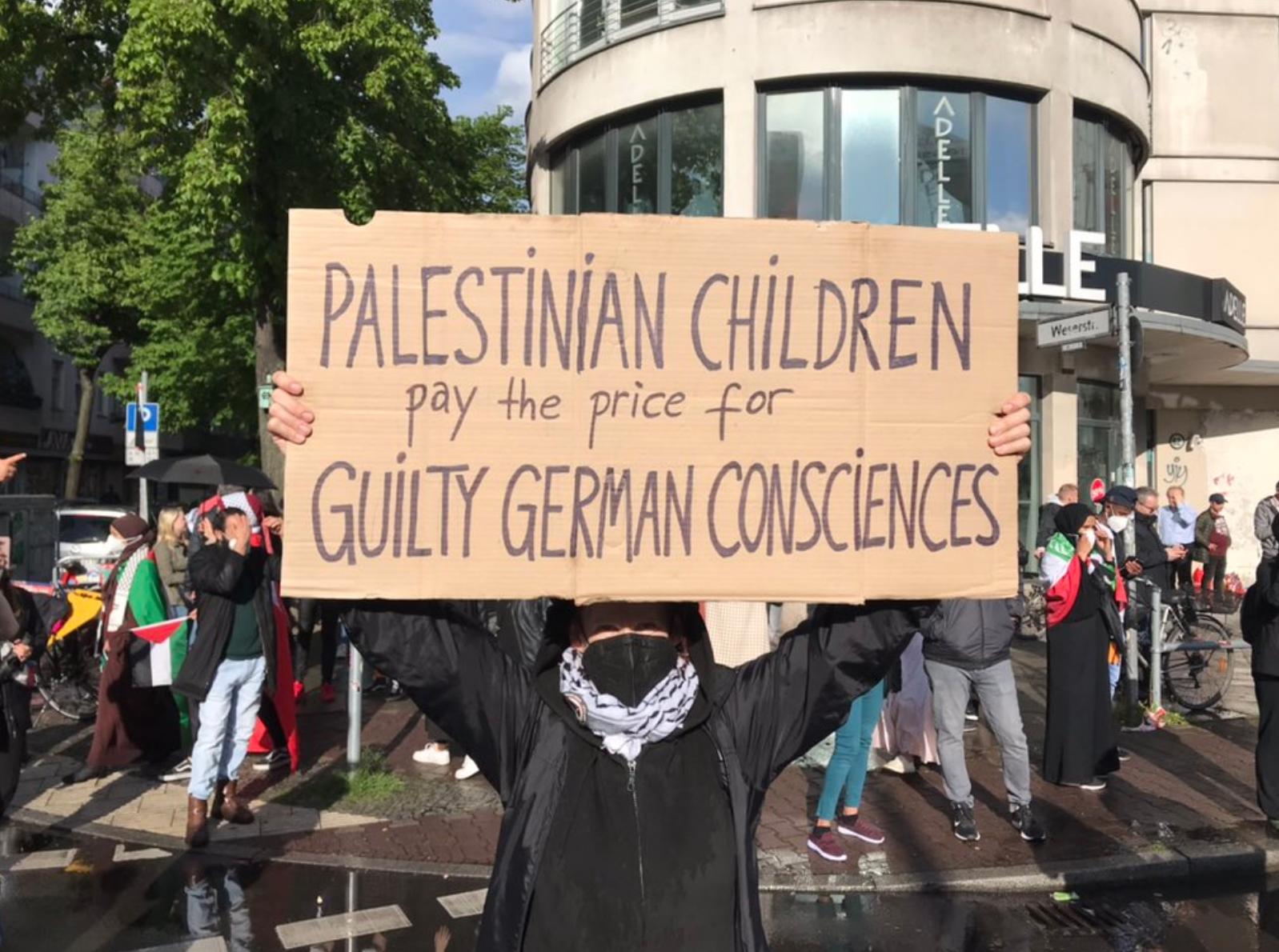 A demonstrator at Berlin's Nakba Day protest, May 15, 2021. Photo via @amroali, Twitter.