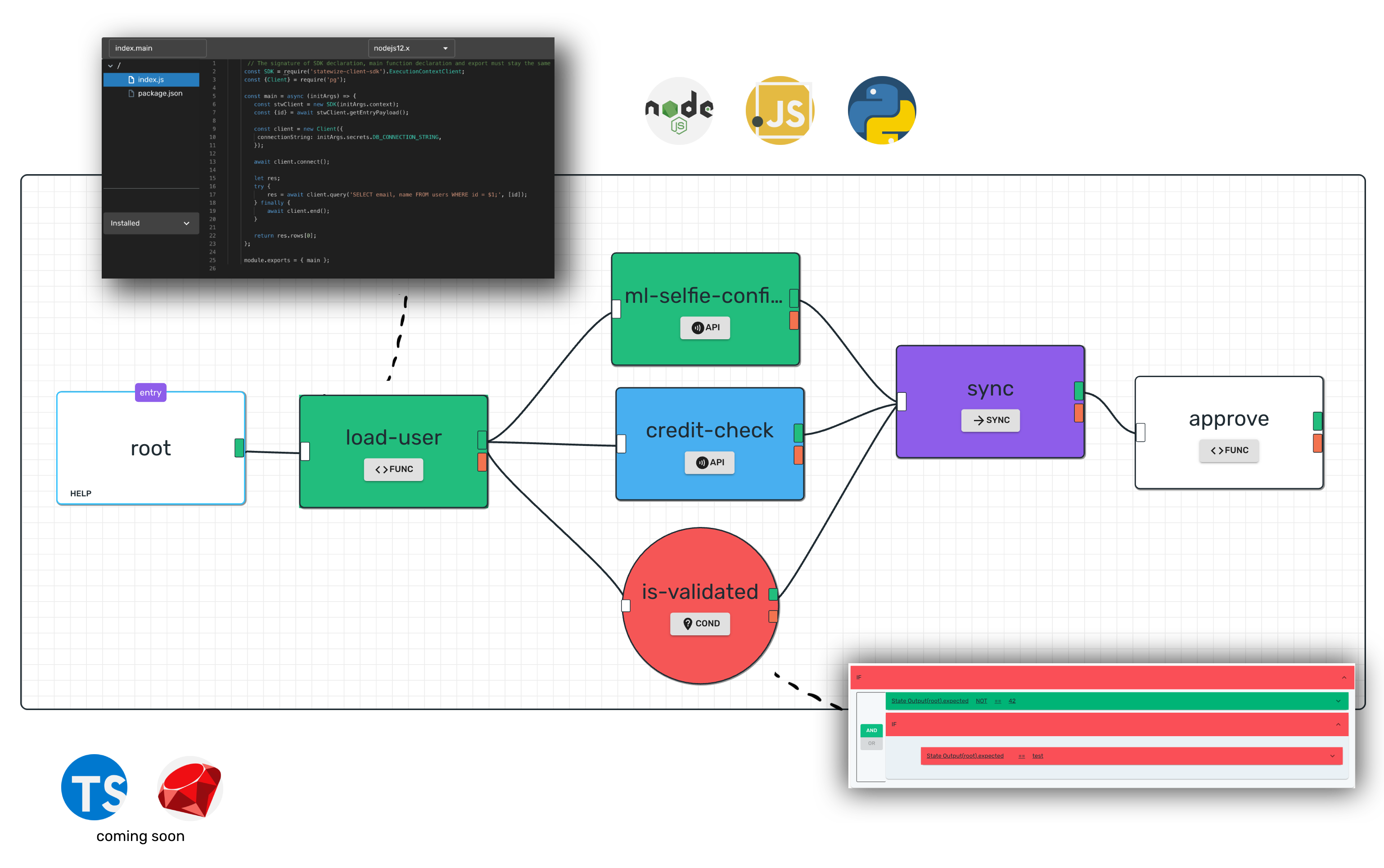 STATEWIZE - a visual software development platform, where you architect and code using javascript and python right in the browser