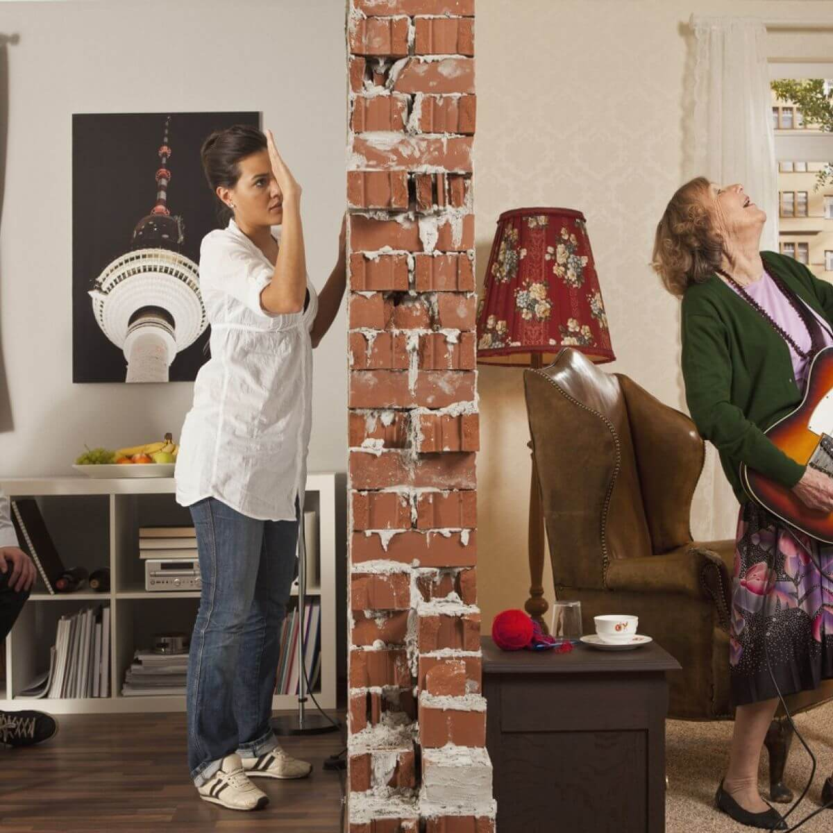 One tenant angry at another for making too much noise (grandma playing guitar)