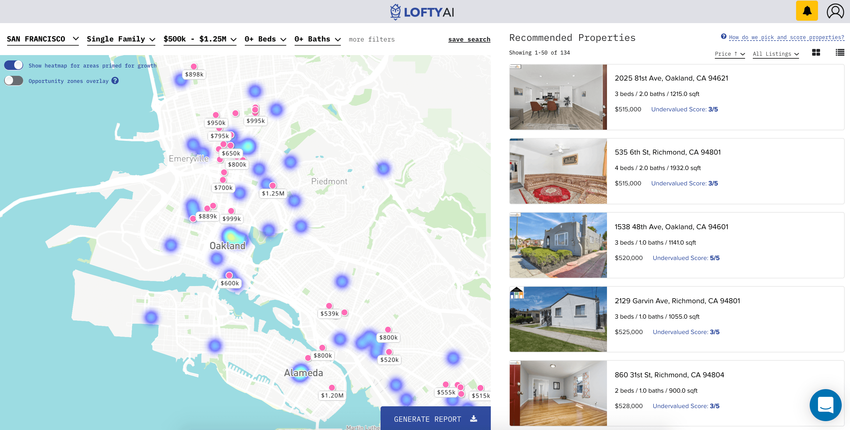 Lofty AI real estate invest app in Oakland, California