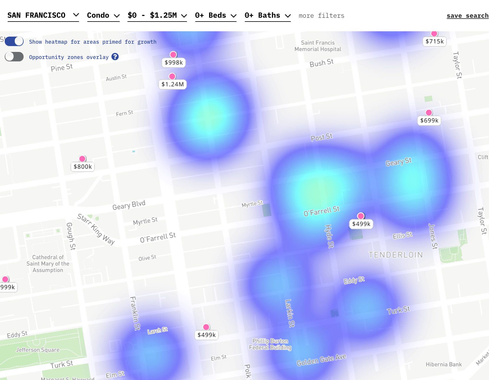 Lofty AI real estate platform in San Francisco with Condo filter turned on