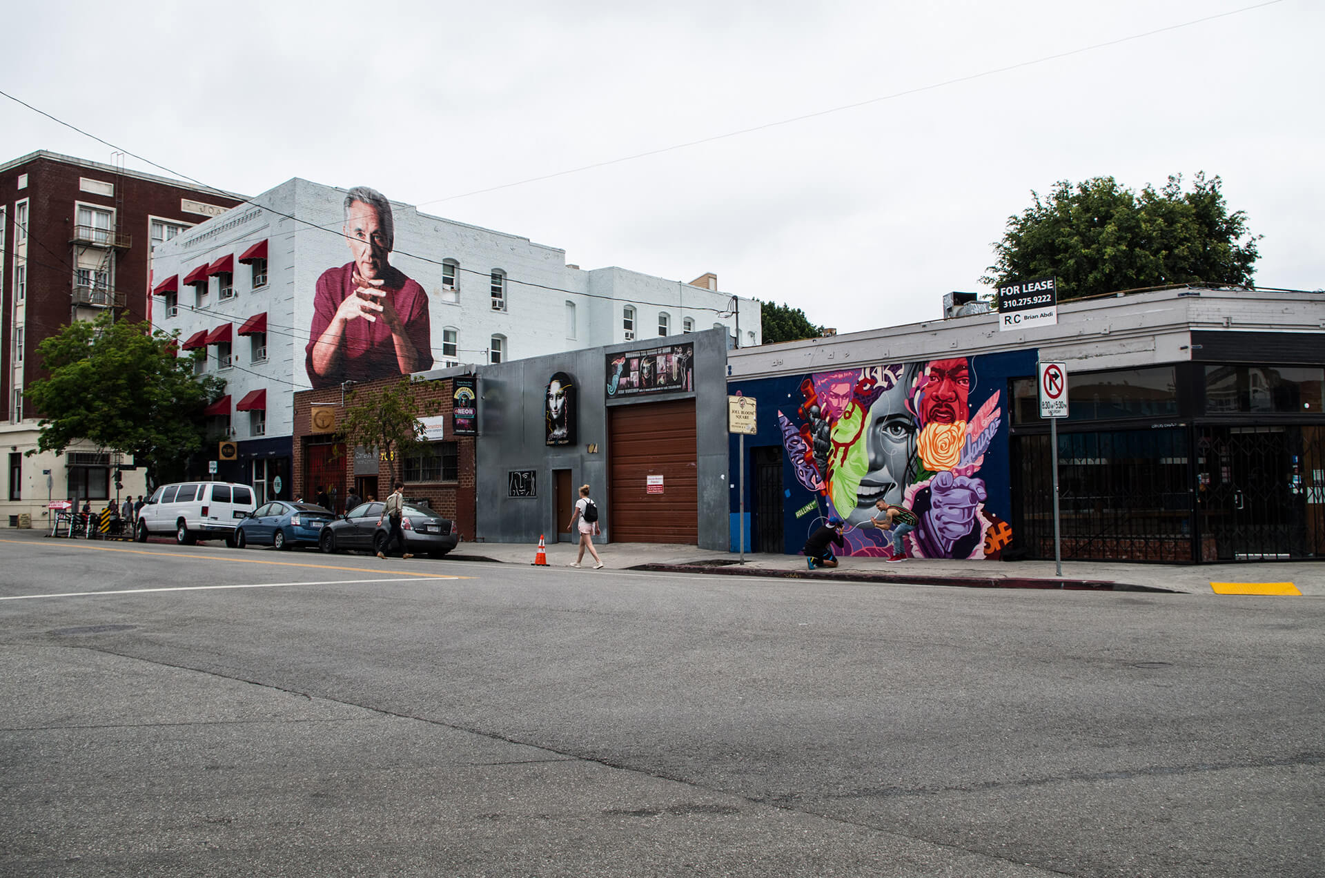 The Arts District in Los Angeles. Buildings with art murals