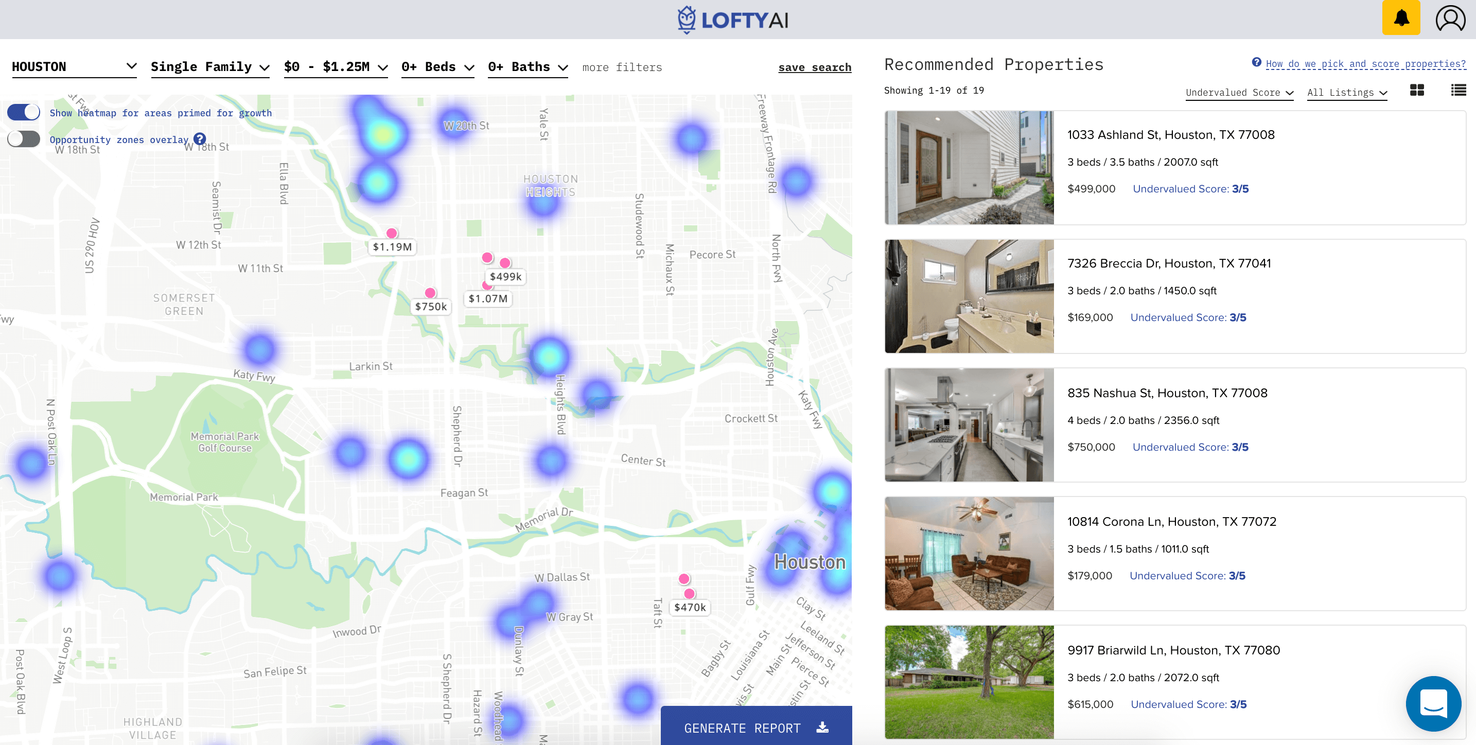 Lofty AI real estate machine learning platform