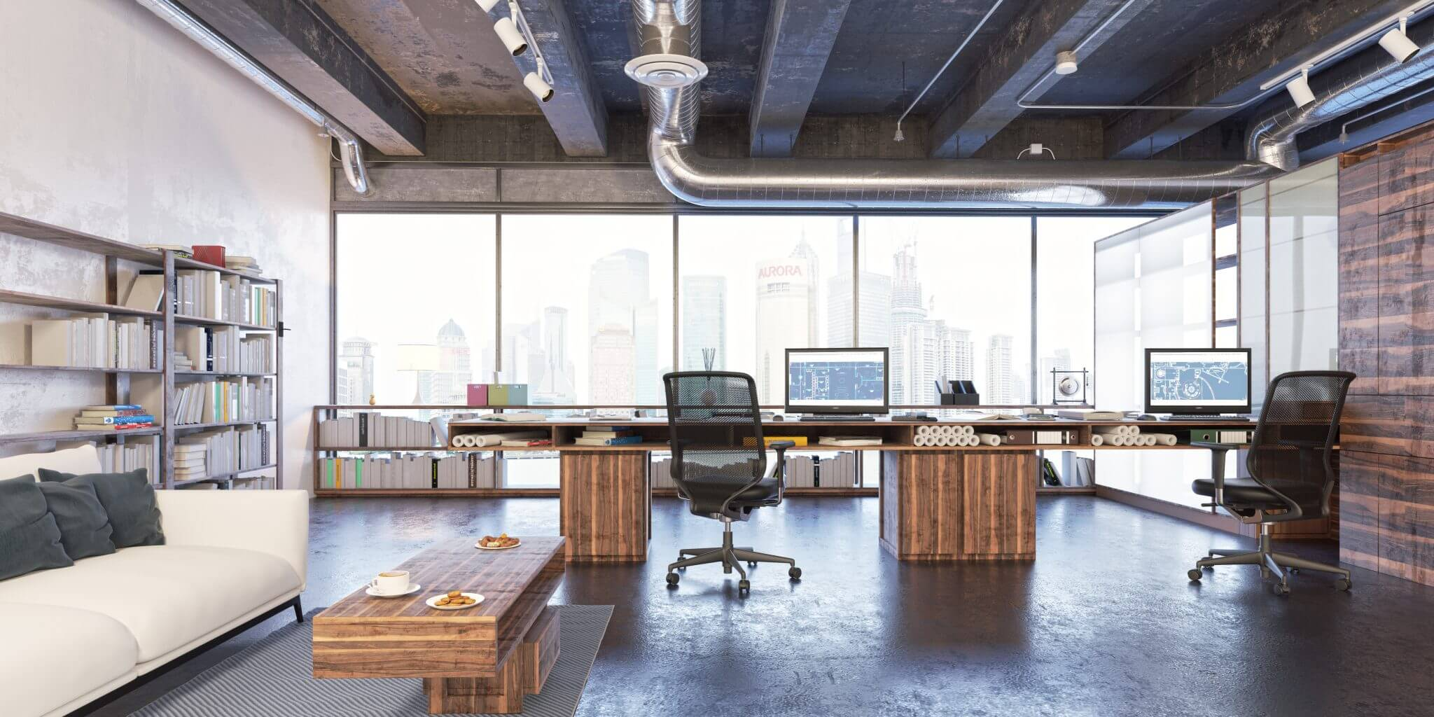Office space with large windows