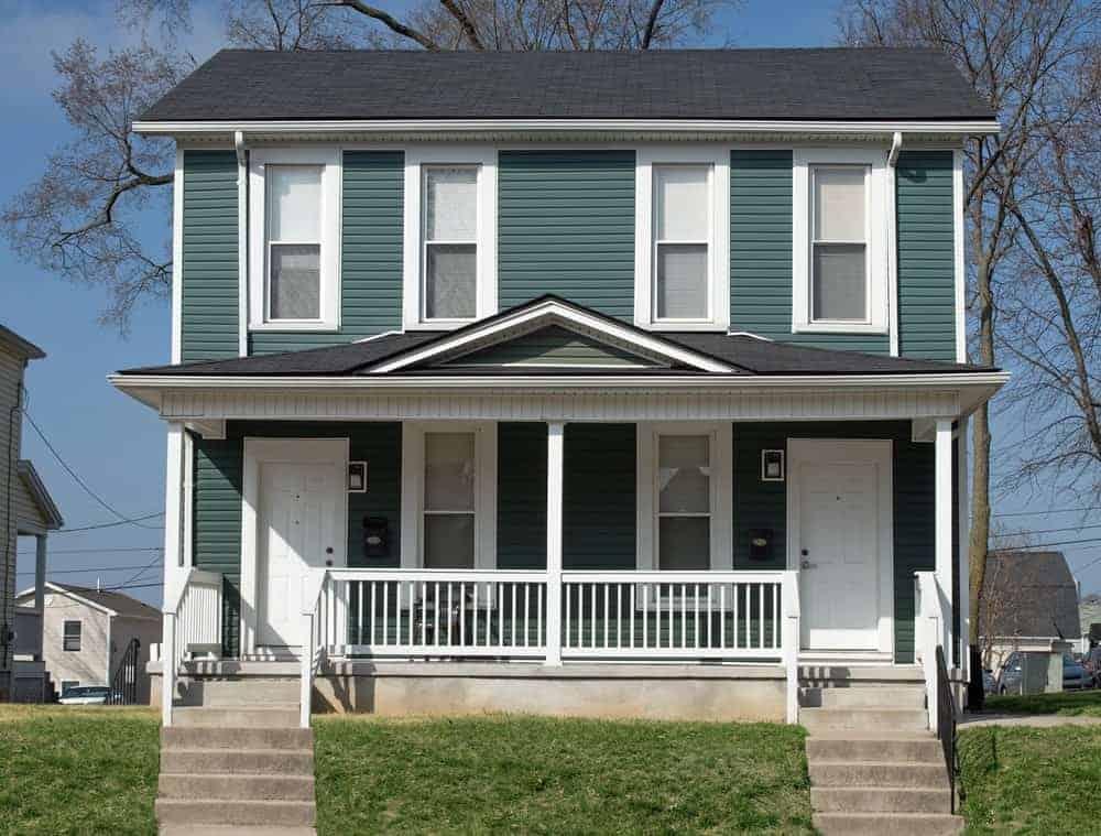 Duplex house for sale turquoise paint