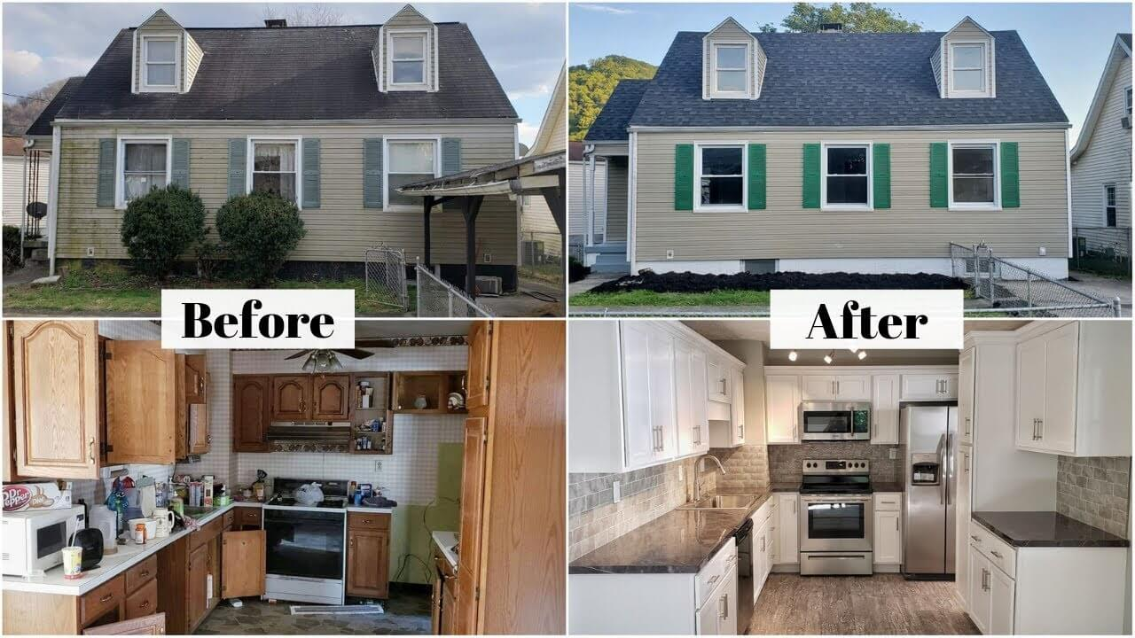 Before and after pictures of houses both outside and inside using 70% rule