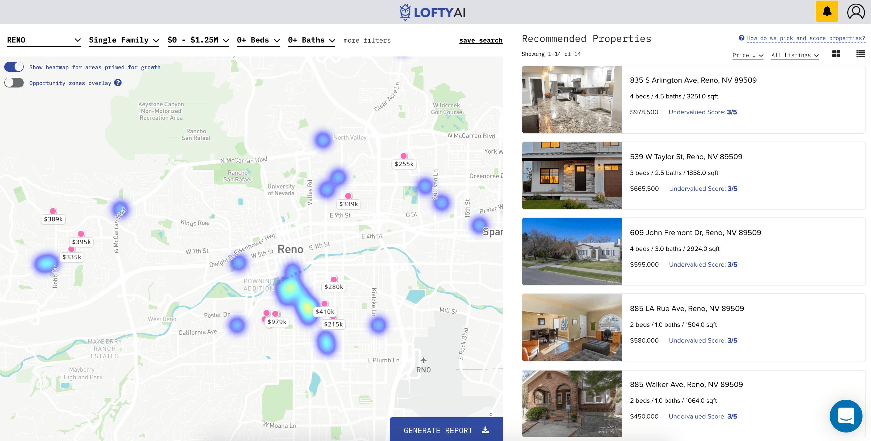 Lofty AI real estate investing app in Reno, Nevada