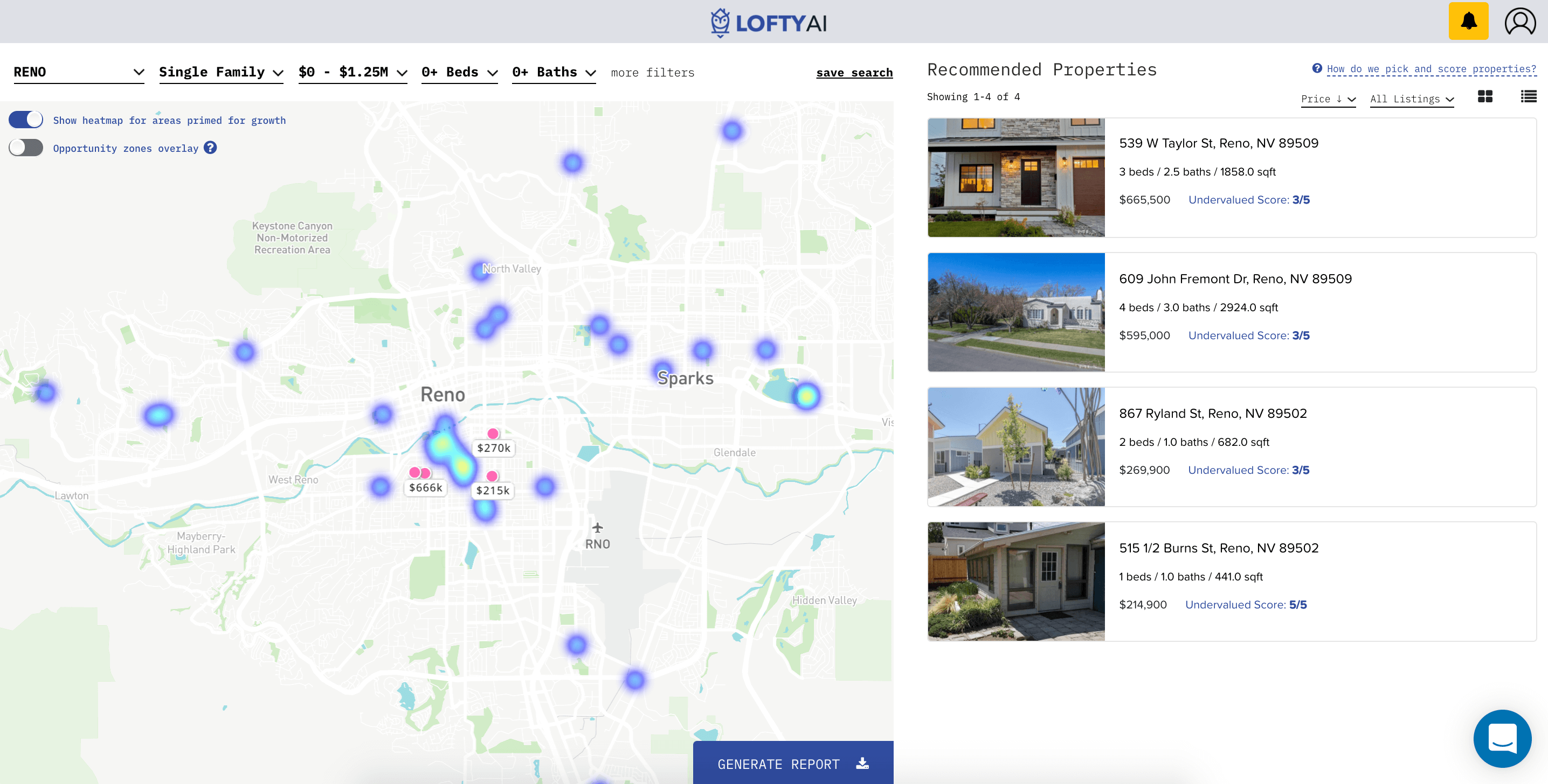 Lofty AI machine learning investing app in Reno, Nevada with the motivated sellers filter turned on