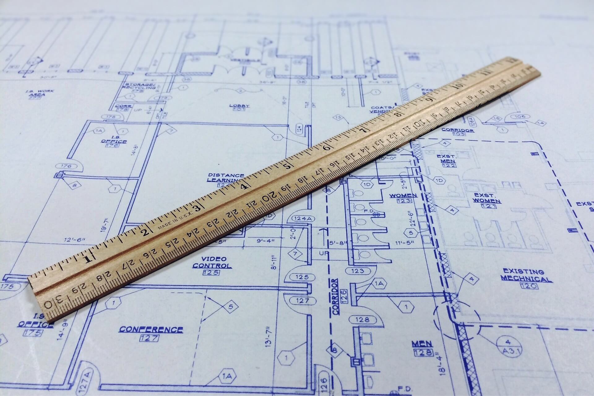 Ruler and blueprint for real estate property