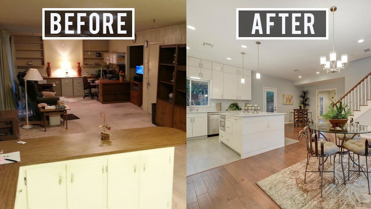 Before and after renovation of house interior