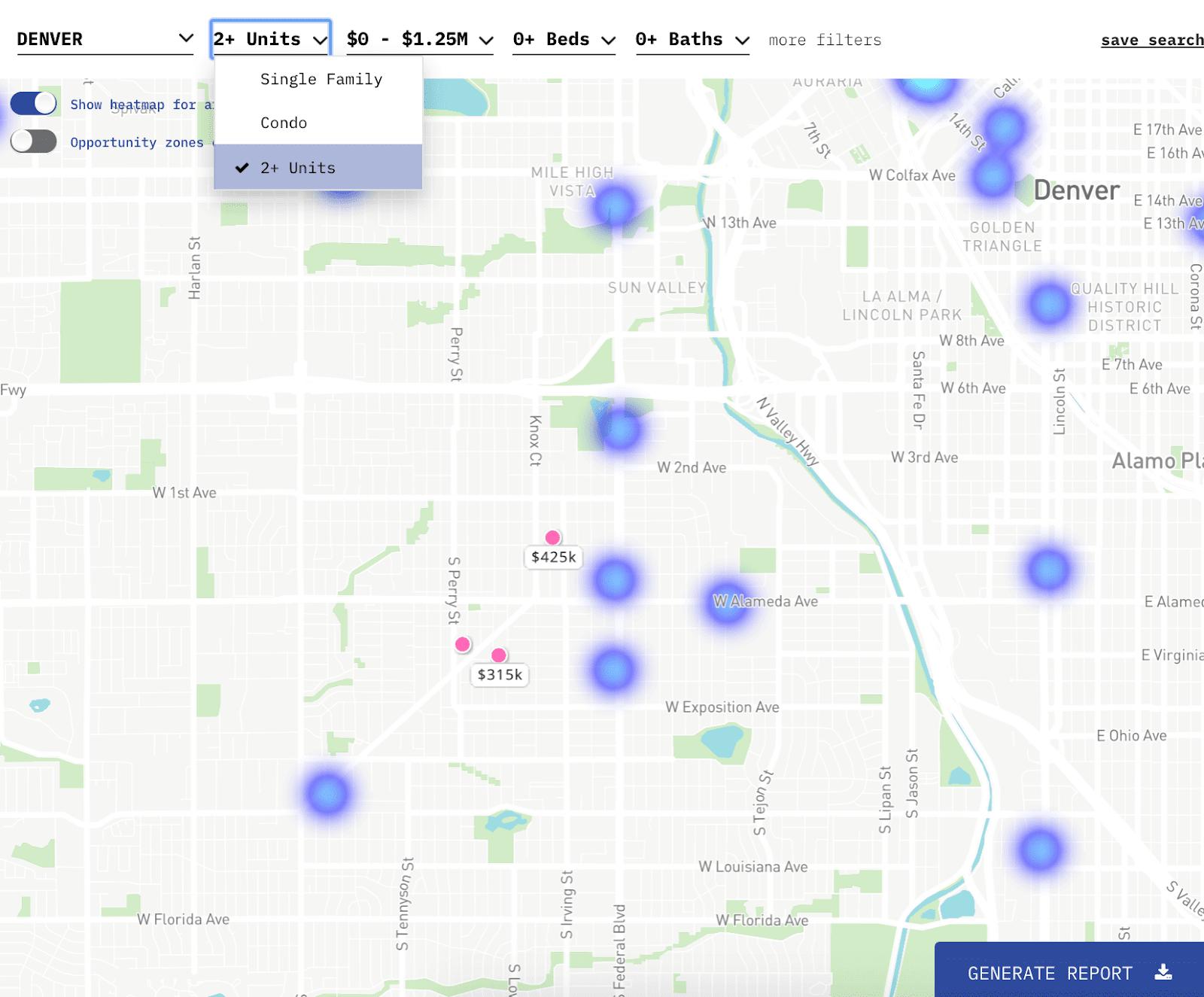 Lofty AI platform showing duplexes for sale in Denver