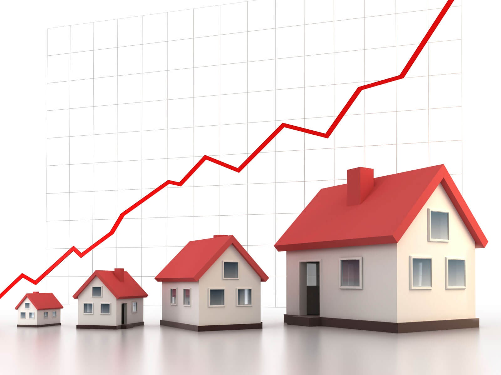 4 houses with a graph in the back and a line chart increasing over time