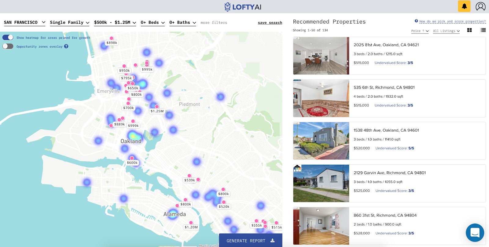 Lofty AI platform showing properties in Oakland, California