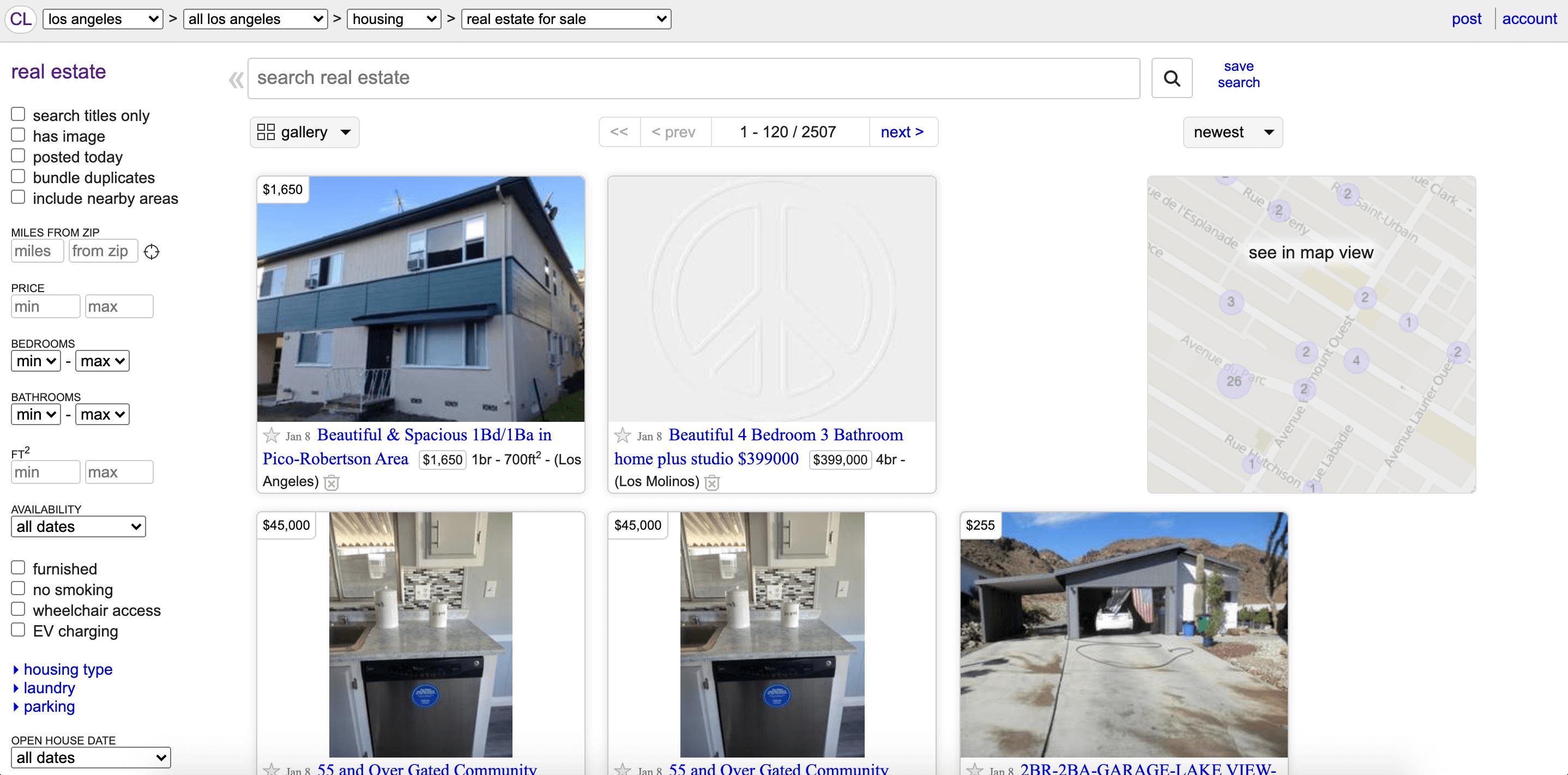 Craigslist property section