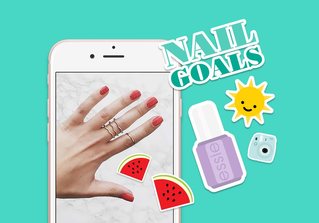 Thumbnail image for the Essie project, representing a white mobile phone showing a picture of a left hand with nails painted in red, and cute vector illustrations stickers all around, on a turquoise background. The stickers represent a smiling sun, 2 slices of watermelon, a purple nail polish bottle, the words Nail Goals and a light blue Instax Mini camera.