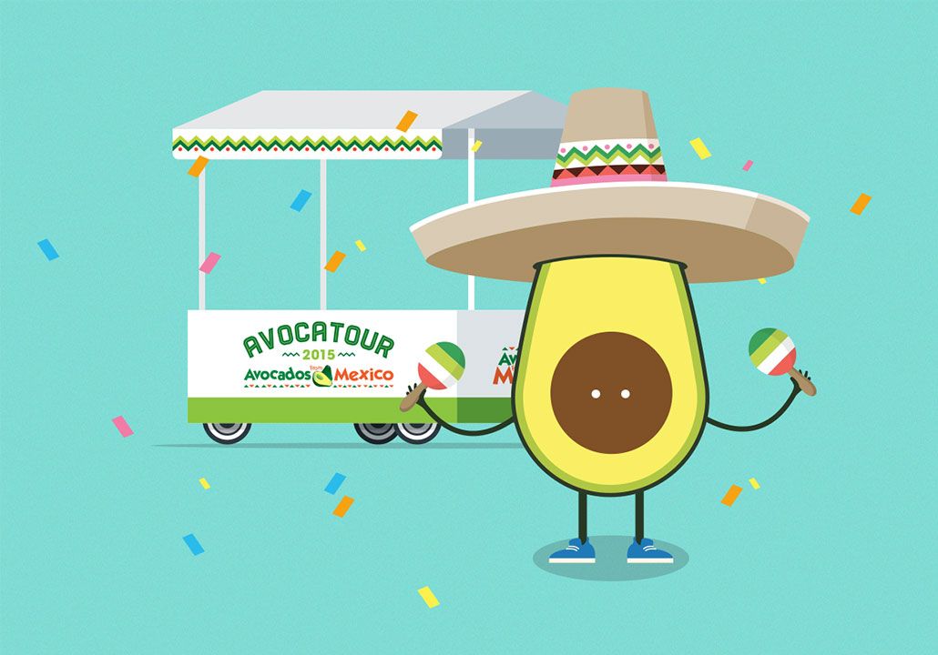 Thumbnail image for the Avocatour project, representing an illustration of Avoman, the Avocados from Mexico character, wearing a sombrero in front of the Avocatour cart, on a turquoise background with colorful confetti around.
