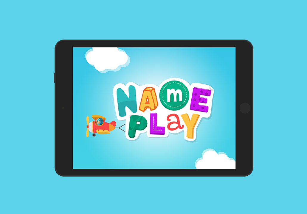 Thumbnail image for the Name Play project, representing an iPad display on a blue background, with the app logo on screen. The logo is a small pilot flying a little red plane with letters attached to it, displaying the word Name Play in letters of various shapes, colors and patterns, in a blue sky with two cute white clouds around.